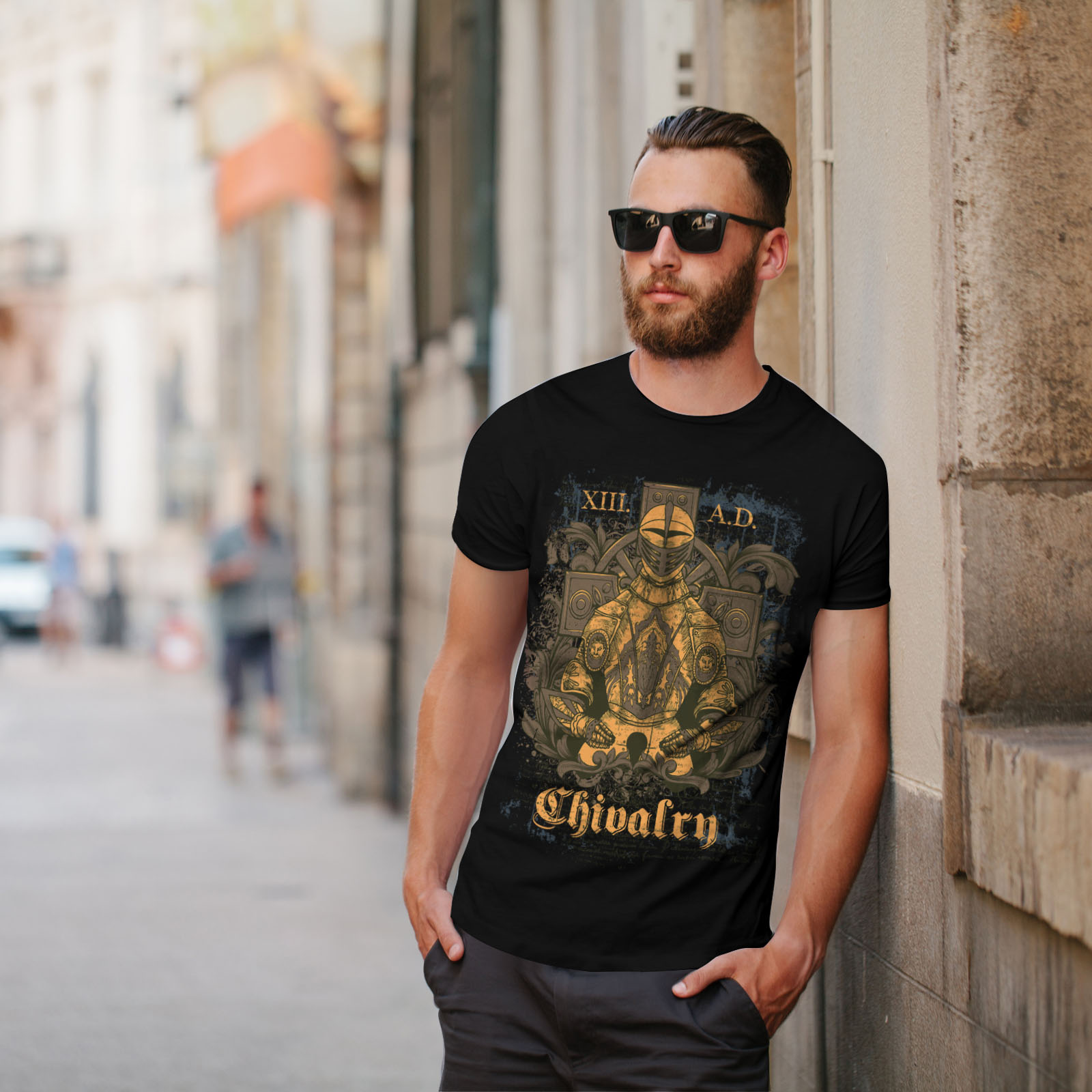 Armour Graphic Design Printed Tee Wellcoda Chivalry Knight Mens T-shirt