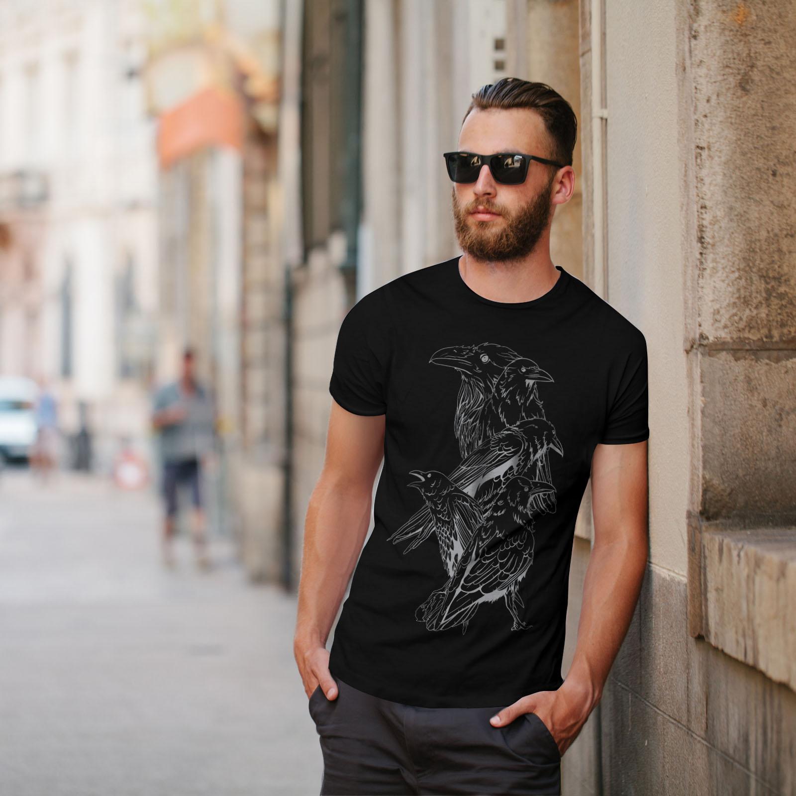 miniature 5 - Wellcoda Four Scary Raven Mens T-shirt, Crow Birds Graphic Design Printed Tee
