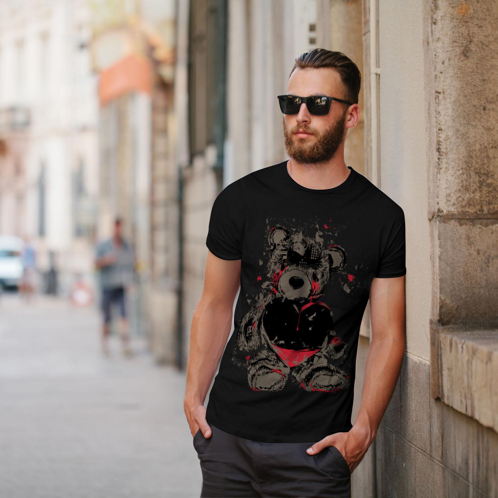 miniature 5 - Wellcoda Teddy Bear Love Hurt Mens T-shirt, Blood Graphic Design Printed Tee
