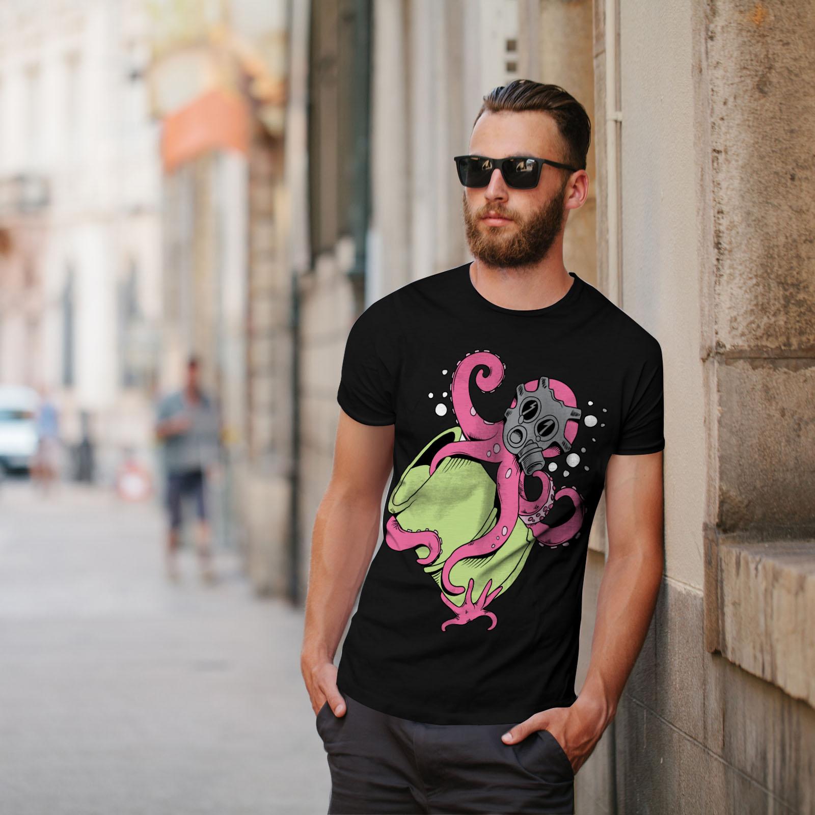 Wellcoda Octopus Cartoon Fantasy Mens T-shirt Toxic Graphic Design Printed Tee