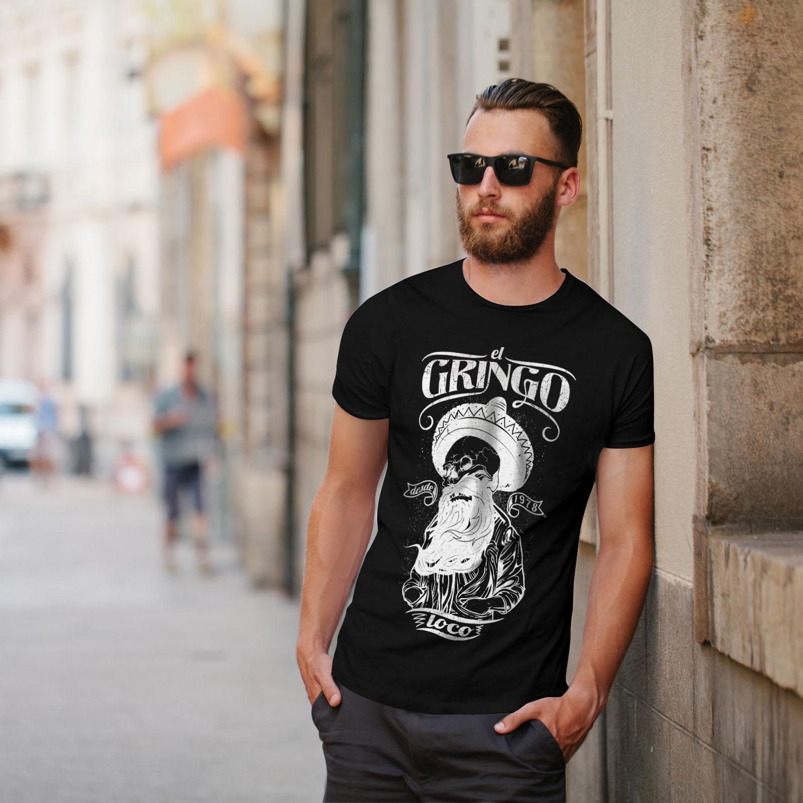 Wellcoda-Gringo-Beard-Skull-Mens-T-shirt-Mexico-Graphic-Design-Printed-Tee thumbnail 5