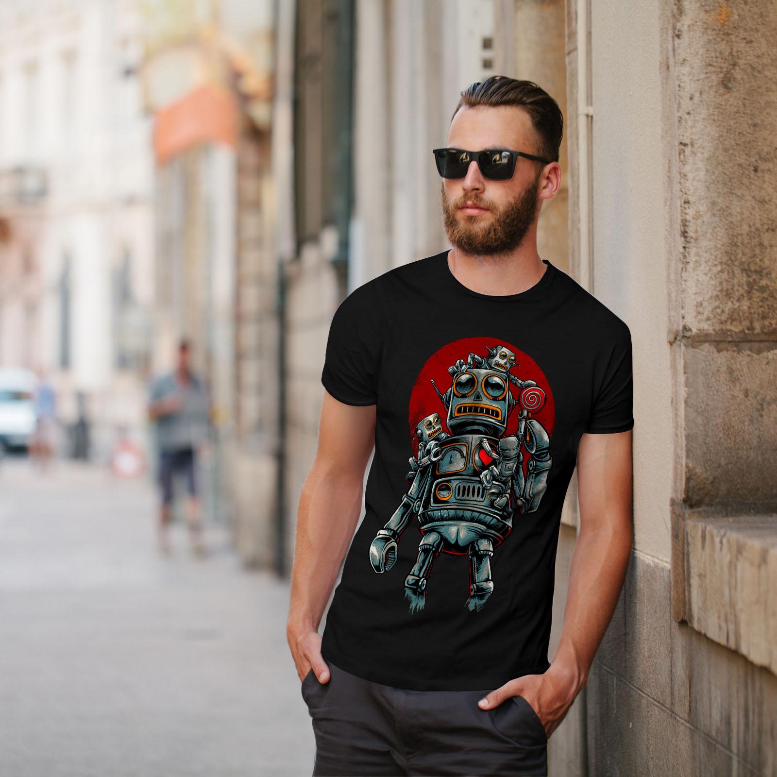 miniature 5 - Wellcoda Crazy Robot Mens T-shirt, Mechanical Graphic Design Printed Tee
