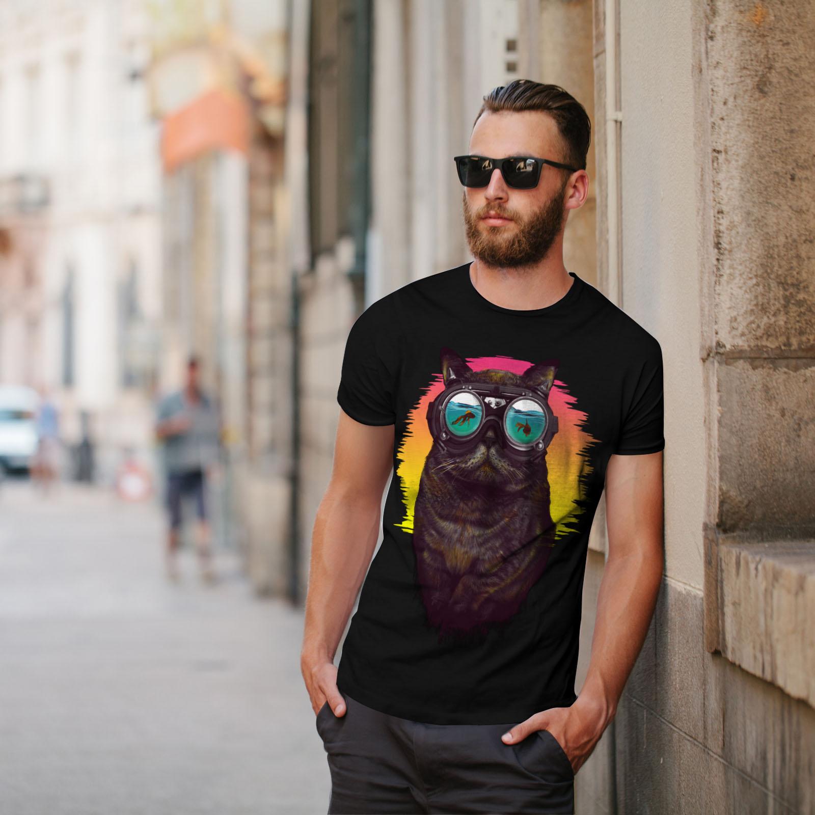 Wellcoda-Hippie-Glasses-Cool-Cat-Mens-T-shirt-Fish-Graphic-Design-Printed-Tee thumbnail 5