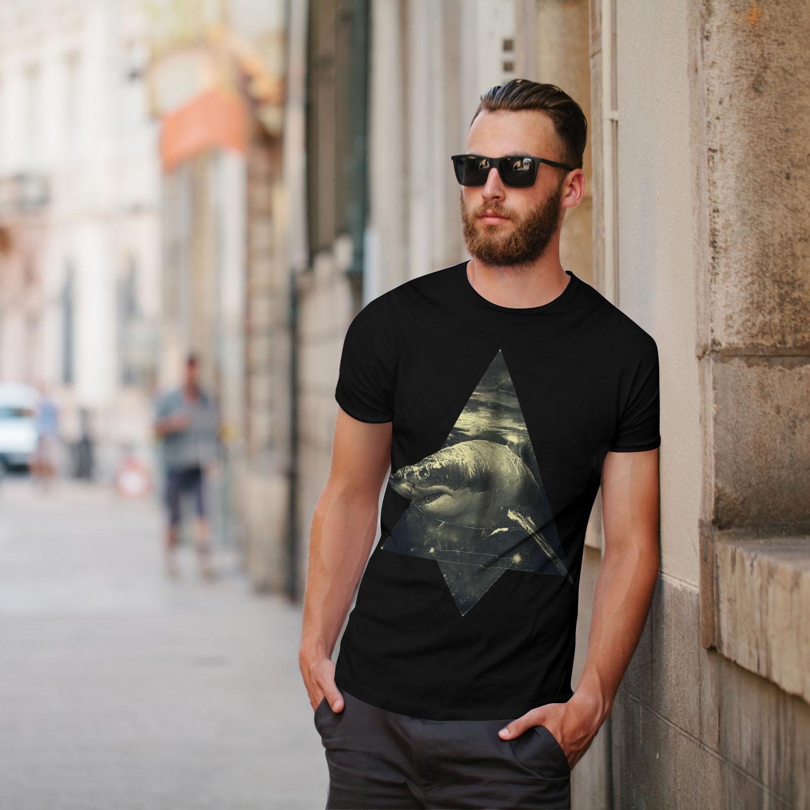 Wellcoda Shark Great White Mens Long Sleeve T-shirt Wild Ocean Graphic Design
