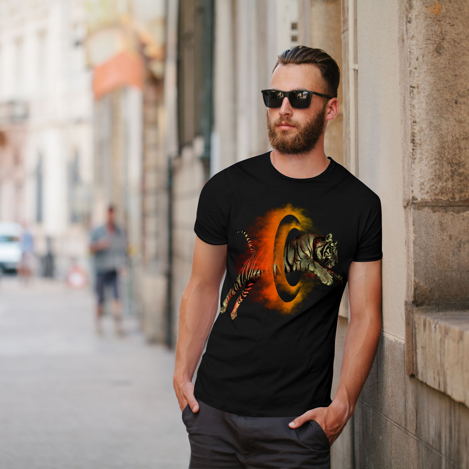Wellcoda-Tiger-Portal-Cool-Mens-T-shirt-Flame-Graphic-Design-Printed-Tee thumbnail 5