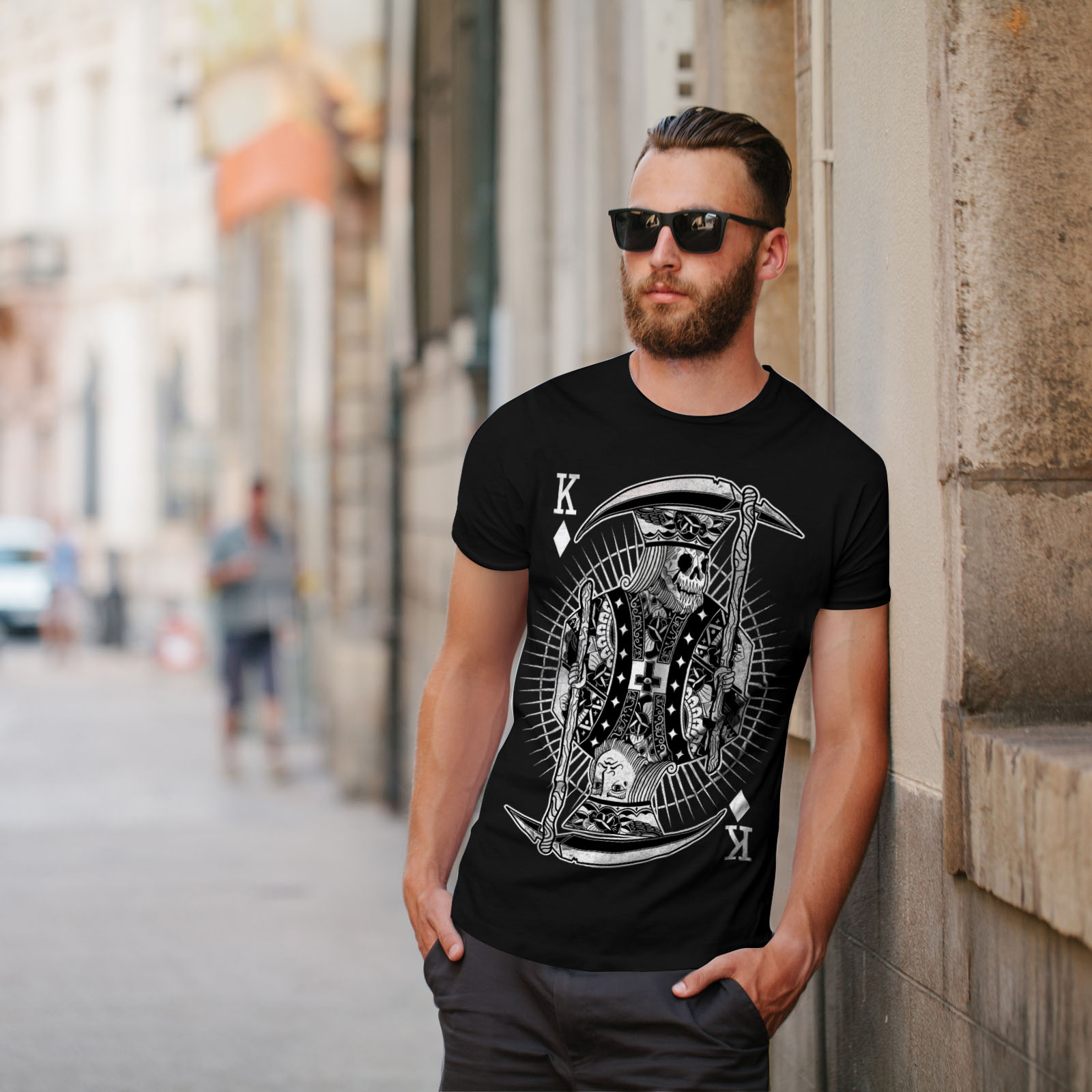 Wellcoda-Poker-Horror-King-Skull-Mens-T-shirt-Graphic-Design-Printed-Tee thumbnail 5