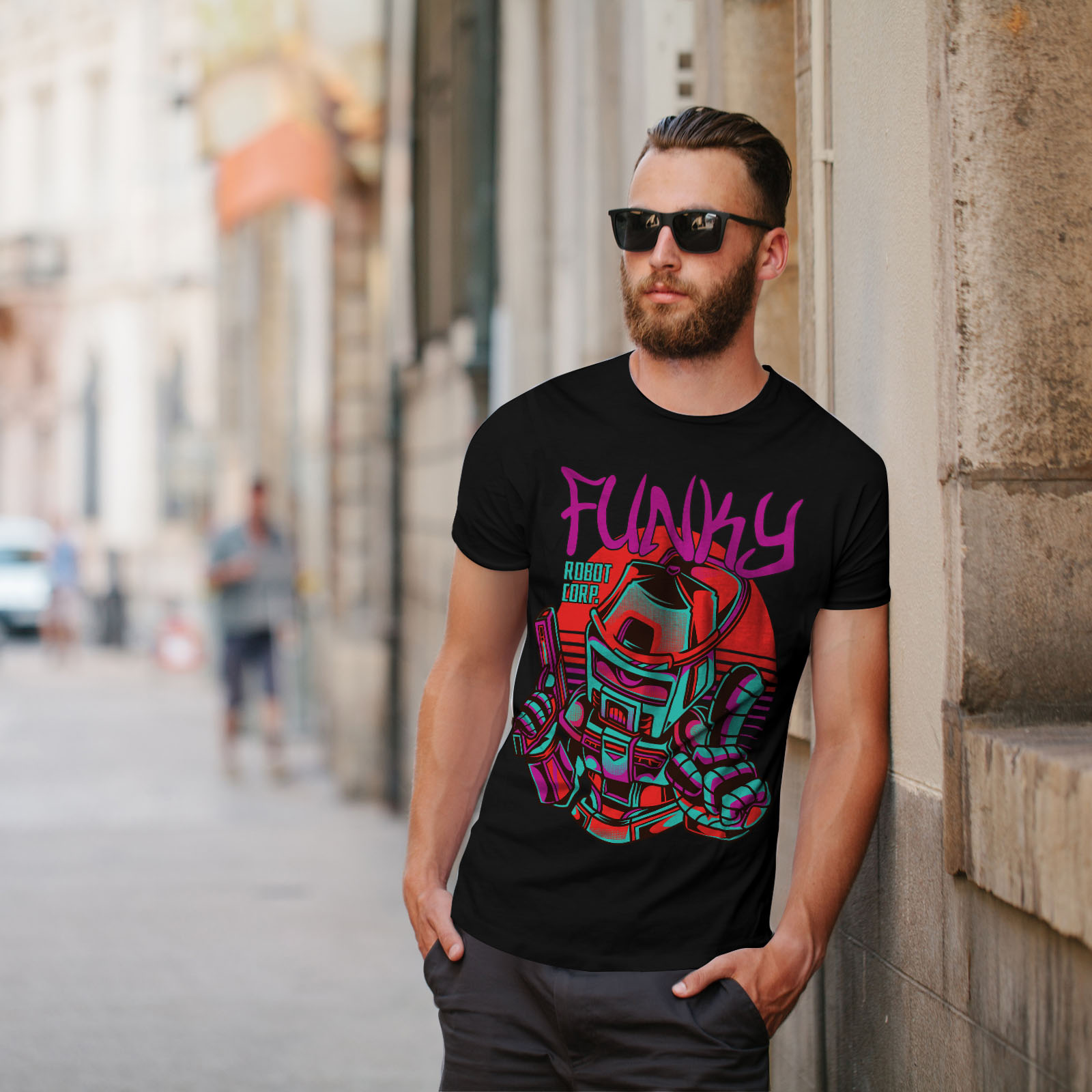 0 Graphic Design Stampato Tee Wellcoda Funky Robot Corp Moda Da Uomo T-shirt