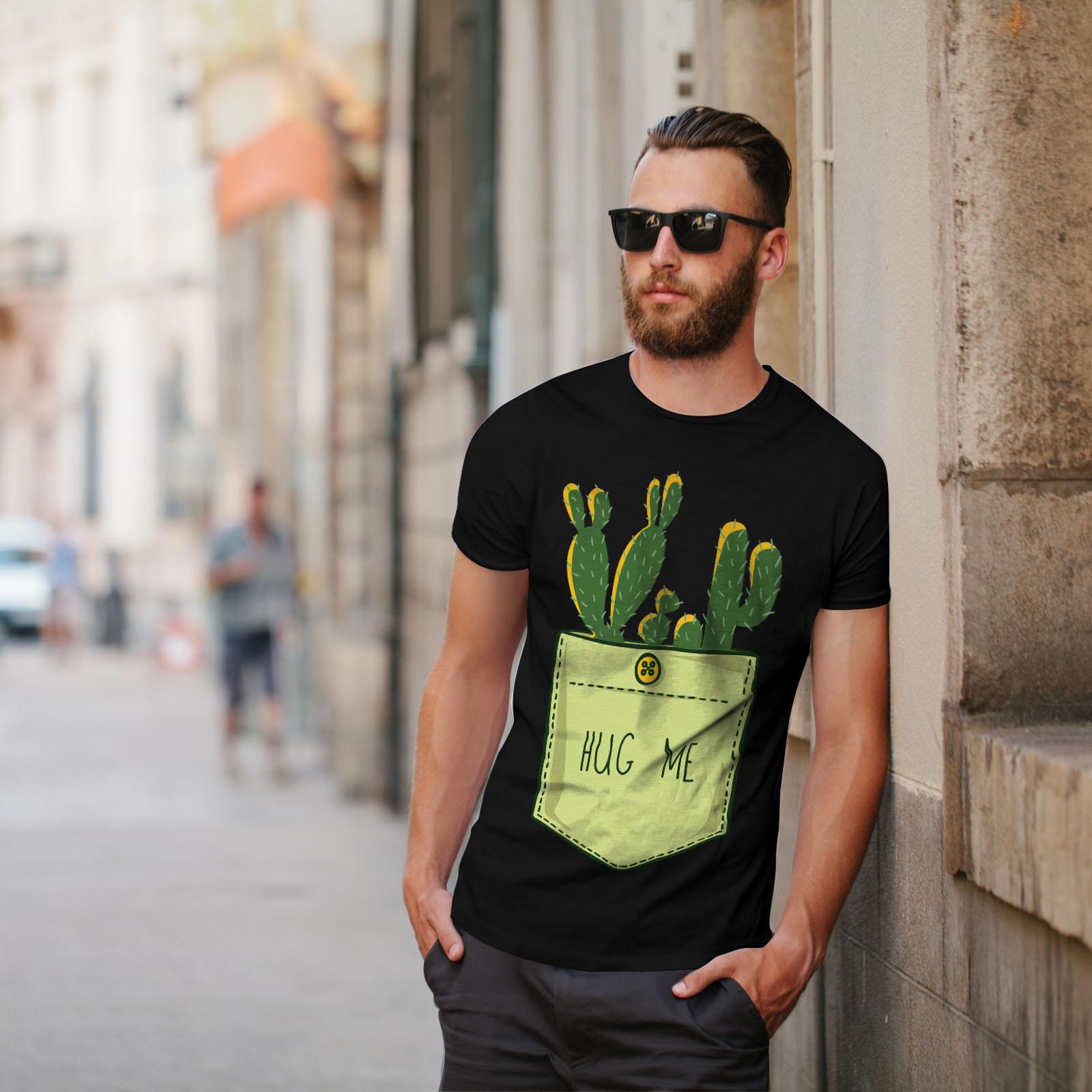 miniature 5 - Wellcoda Hug Me Cactus Funny Mens T-shirt,  Graphic Design Printed Tee
