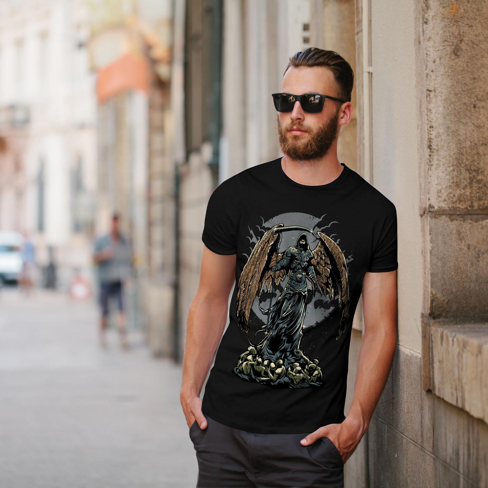 Wellcoda-Evil-Grim-Reaper-Mens-T-shirt-Horror-Graphic-Design-Printed-Tee thumbnail 5