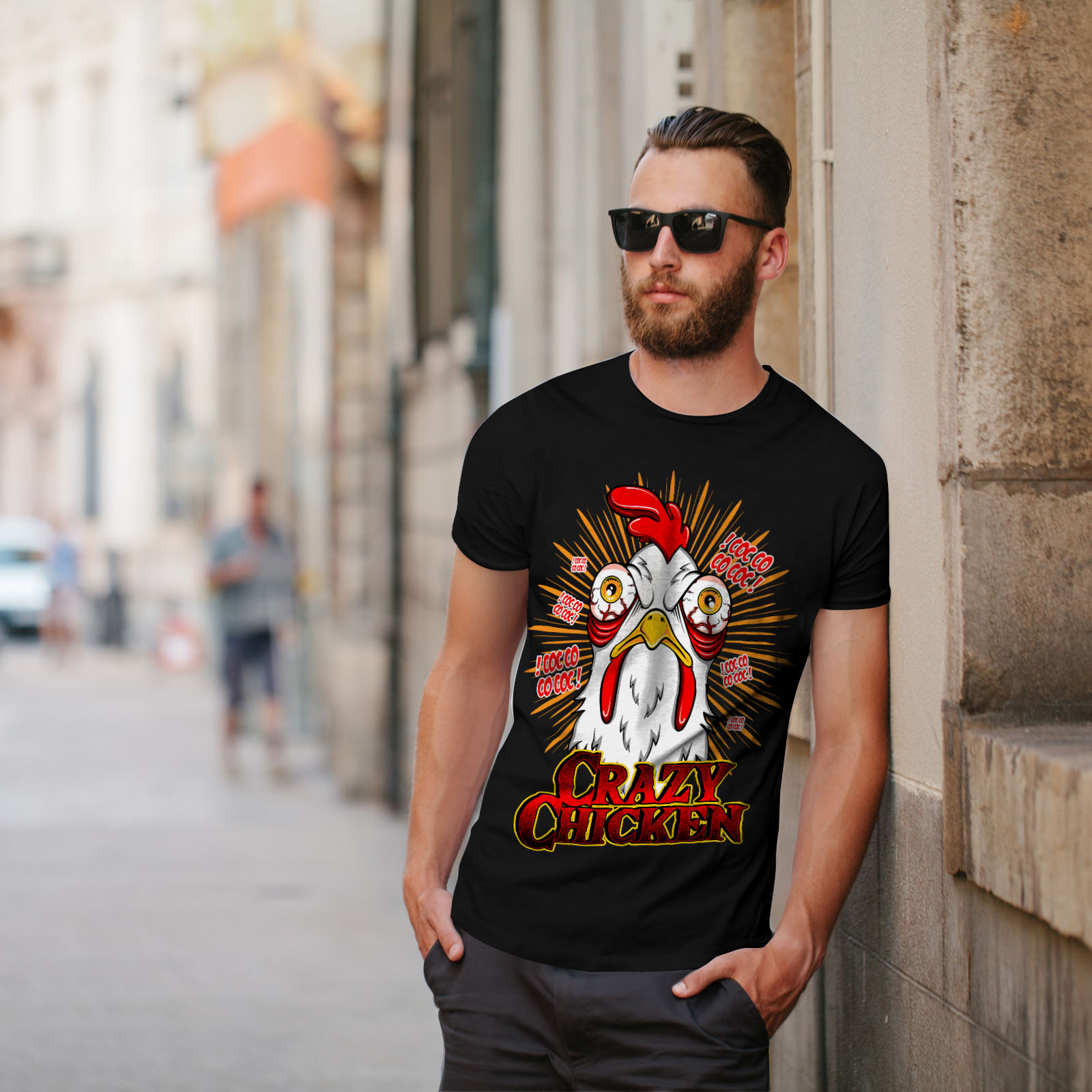 Wellcoda-Crazy-Chicken-Mens-T-shirt-Funny-Face-Graphic-Design-Printed-Tee thumbnail 5