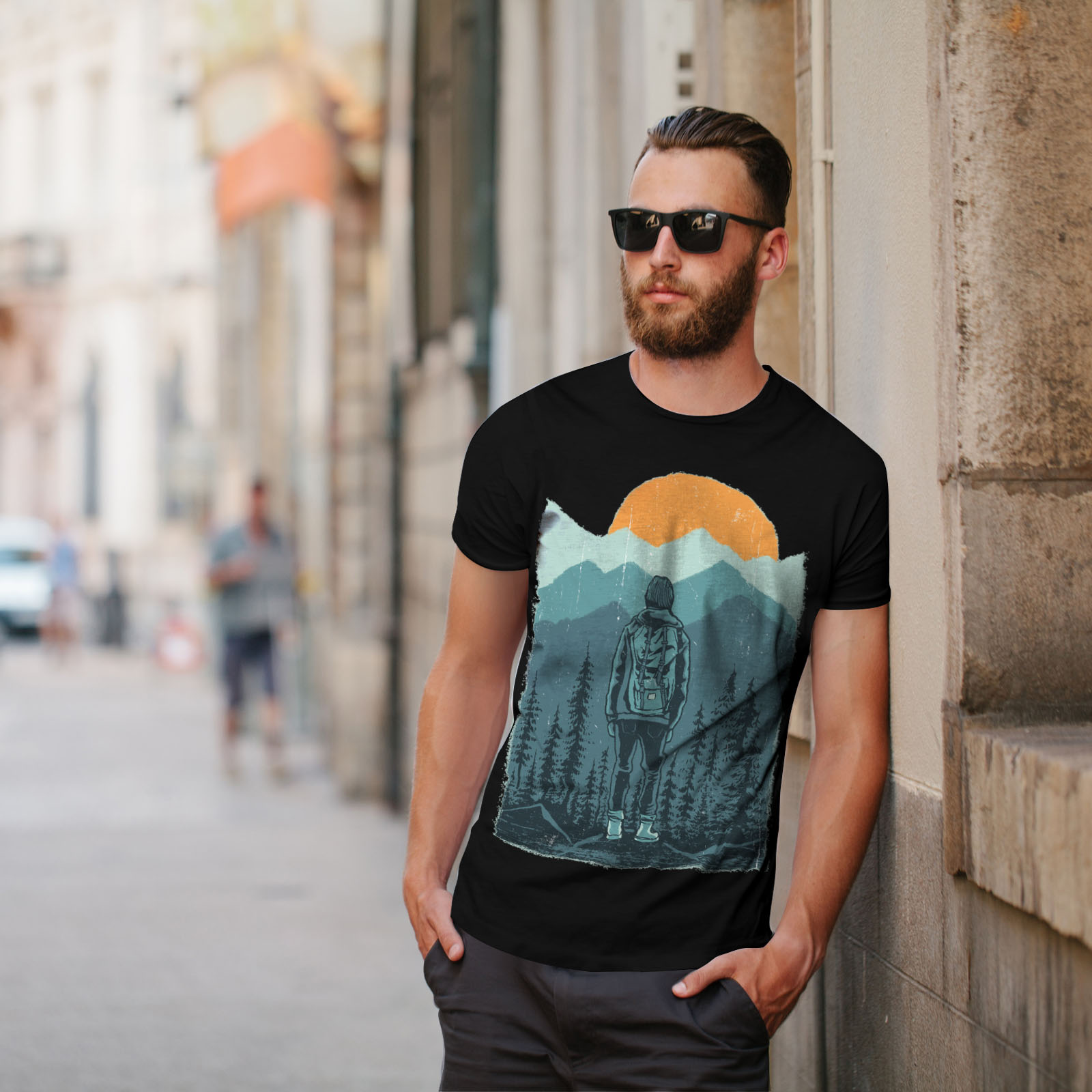 Wellcoda-SUNSET-Wilderness-CAMP-Da-Uomo-T-shirt-Wild-design-grafico-stampato-T-shirt miniatura 5