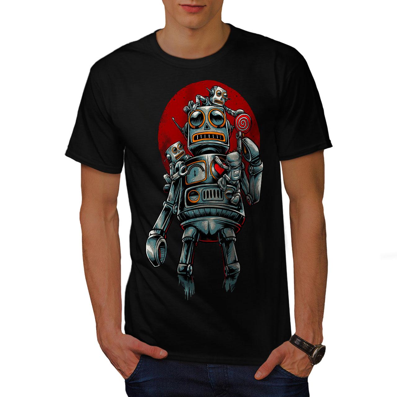 miniature 3 - Wellcoda Crazy Robot Mens T-shirt, Mechanical Graphic Design Printed Tee