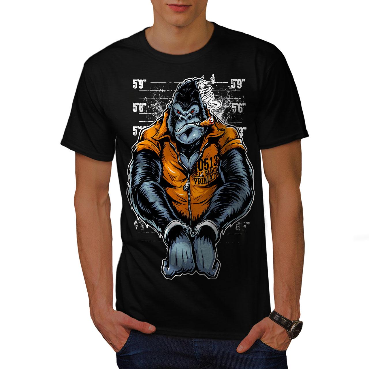 Wellcoda-Monkey-Ape-Prison-Mens-T-shirt-Wild-Graphic-Design-Printed-Tee thumbnail 3