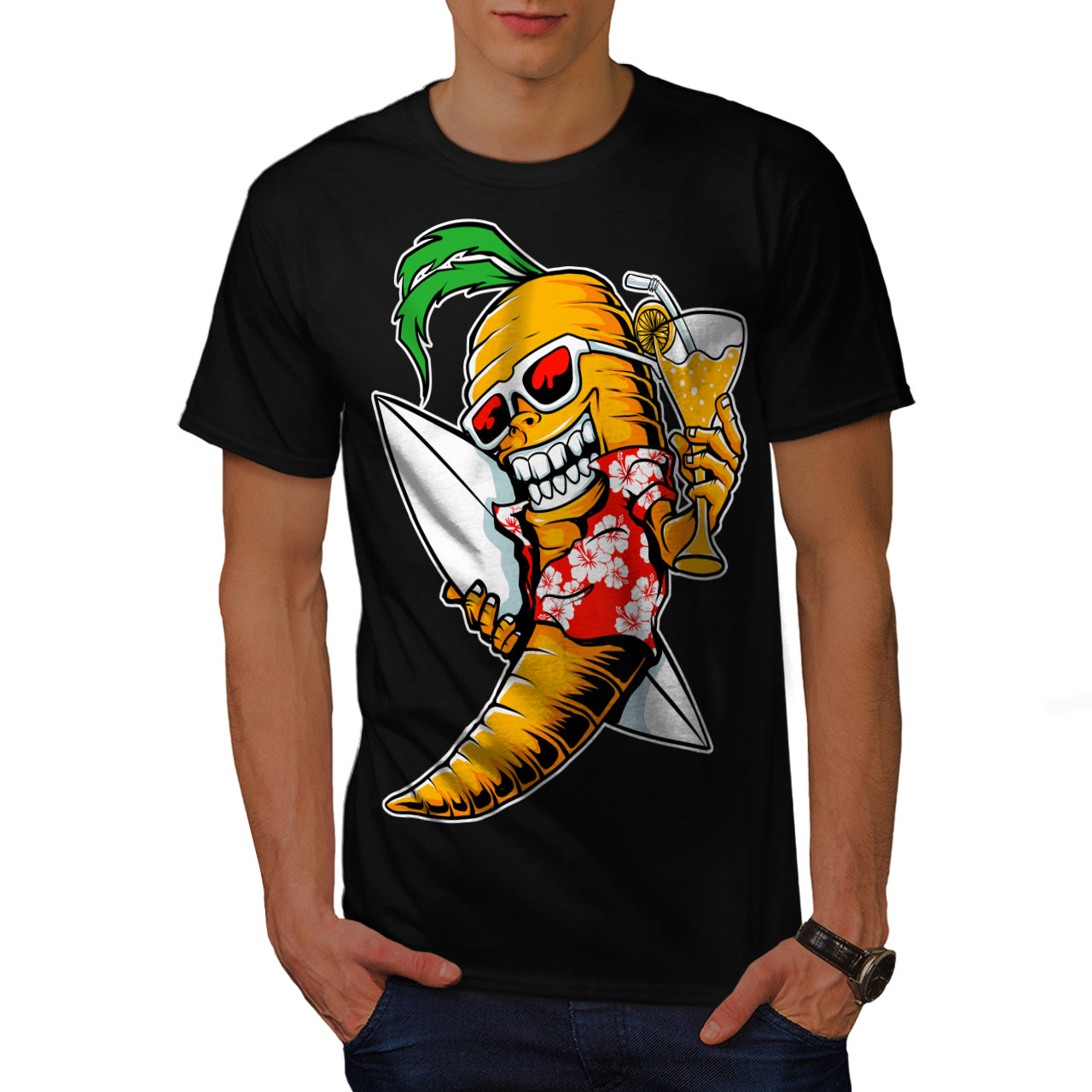 6a362c35 Wellcoda Surf Vegetable Funny Mens T-shirt, Summer Graphic Design ...