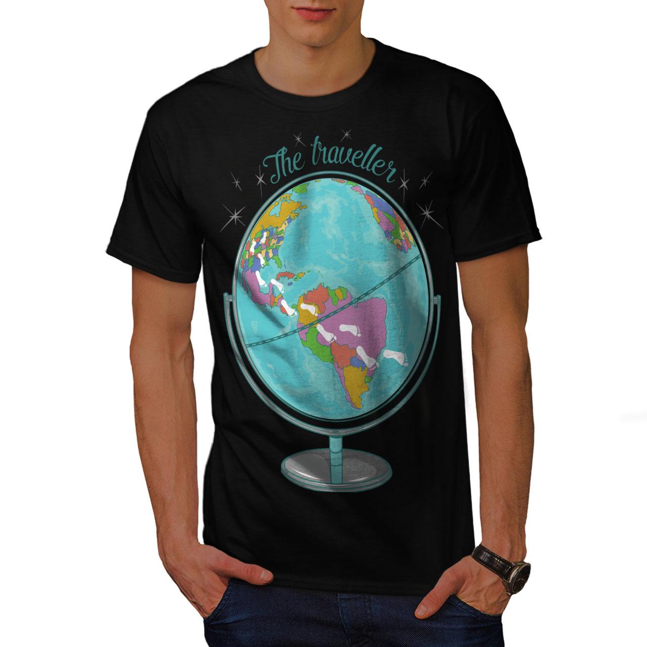 Wellcoda globe traveller mens t shirt world map graphic design wellcoda globe traveller mens t shirt world map gumiabroncs Images