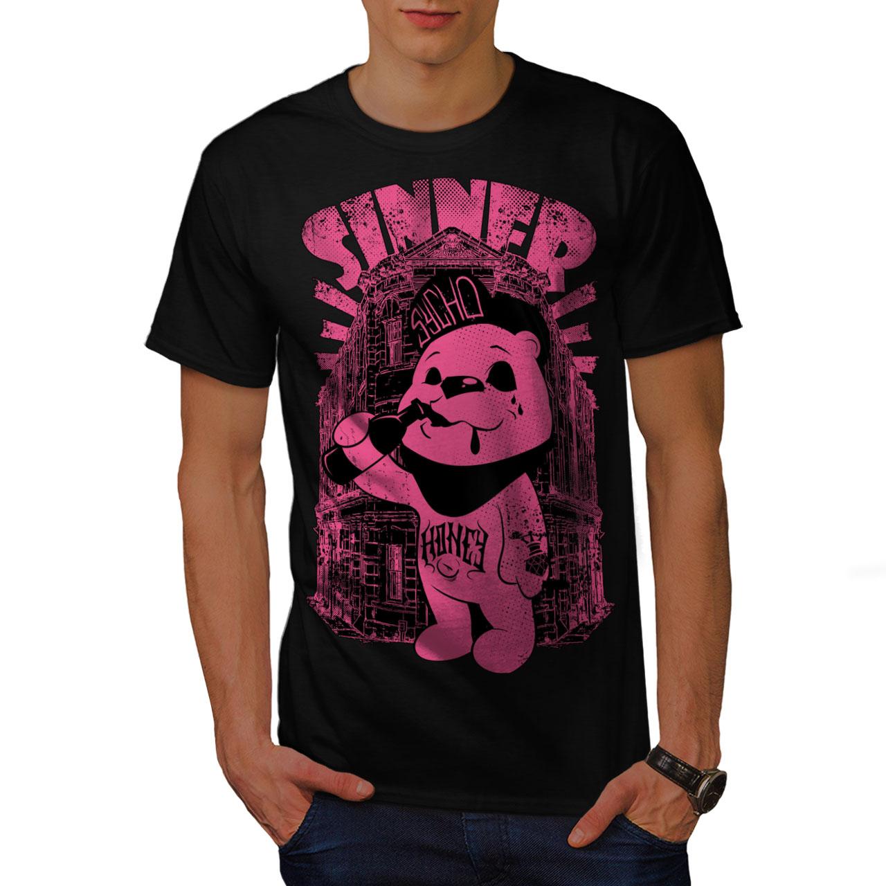 Psycho Graphic Design Wellcoda Sinner Teddy Ted Bear Mens Long Sleeve T-shirt