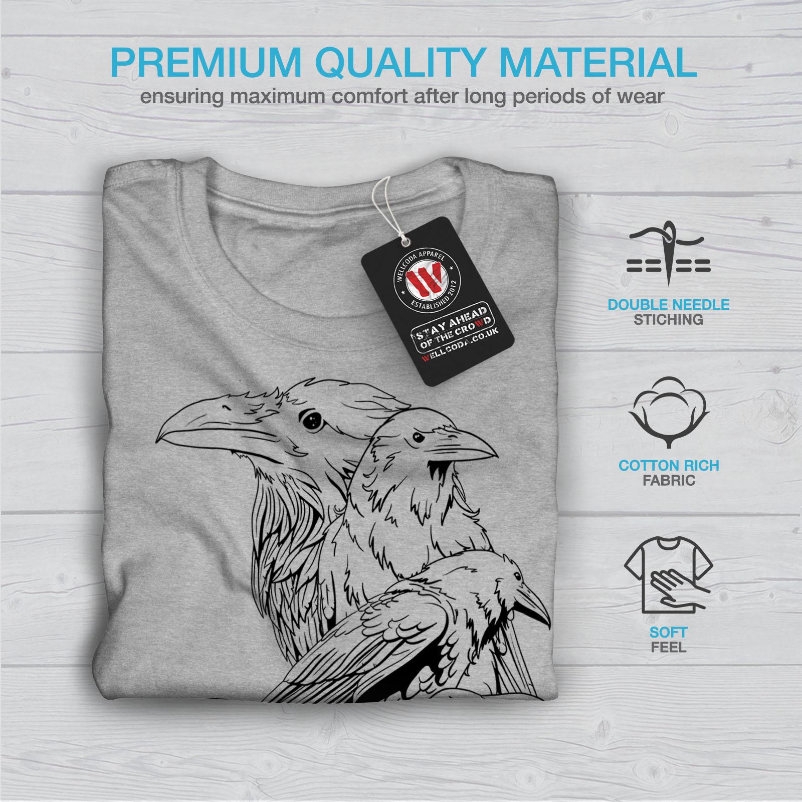 miniature 19 - Wellcoda Four Scary Raven Mens T-shirt, Crow Birds Graphic Design Printed Tee