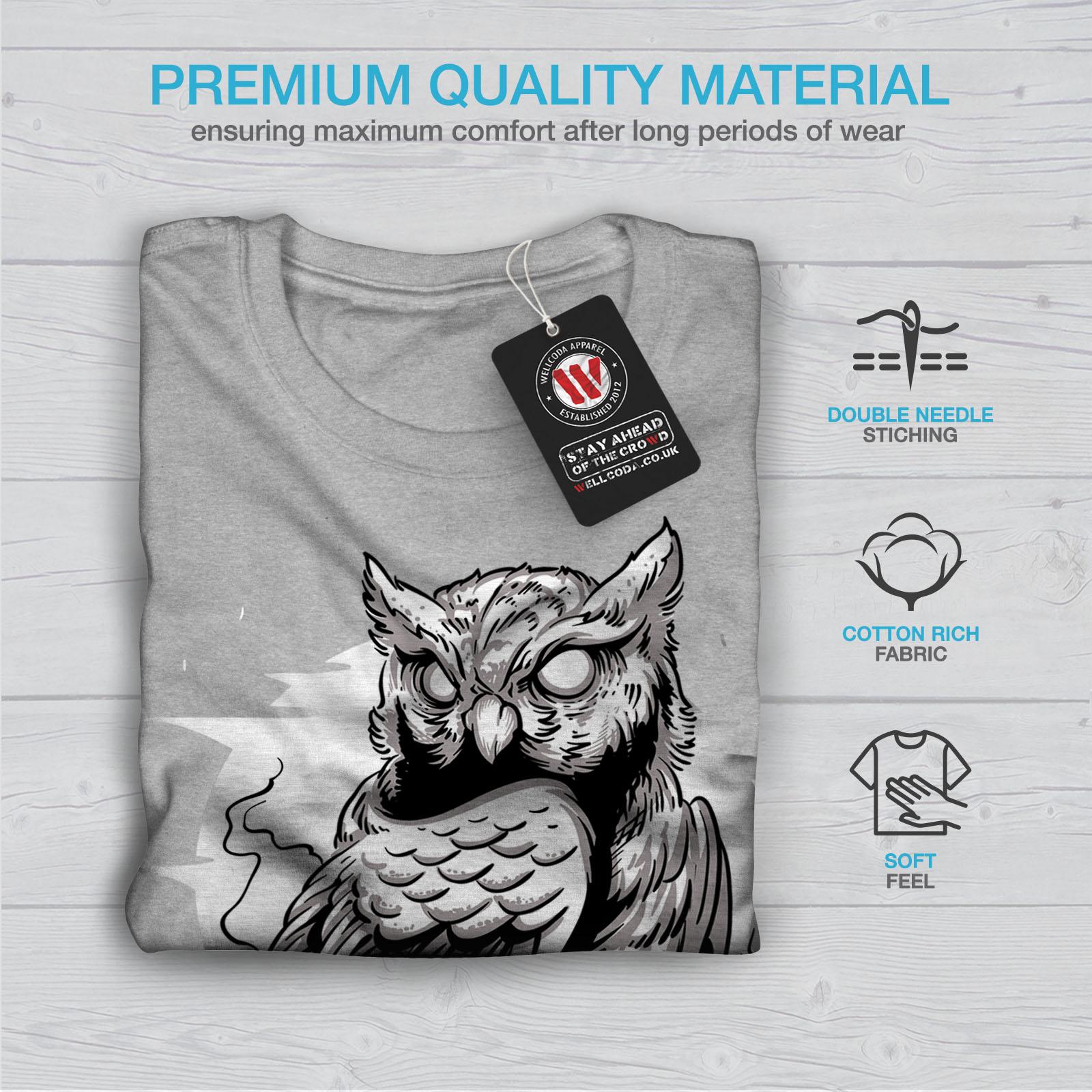 miniature 19 - Wellcoda Triangle Owl Mens T-shirt, Conspiracy Graphic Design Printed Tee