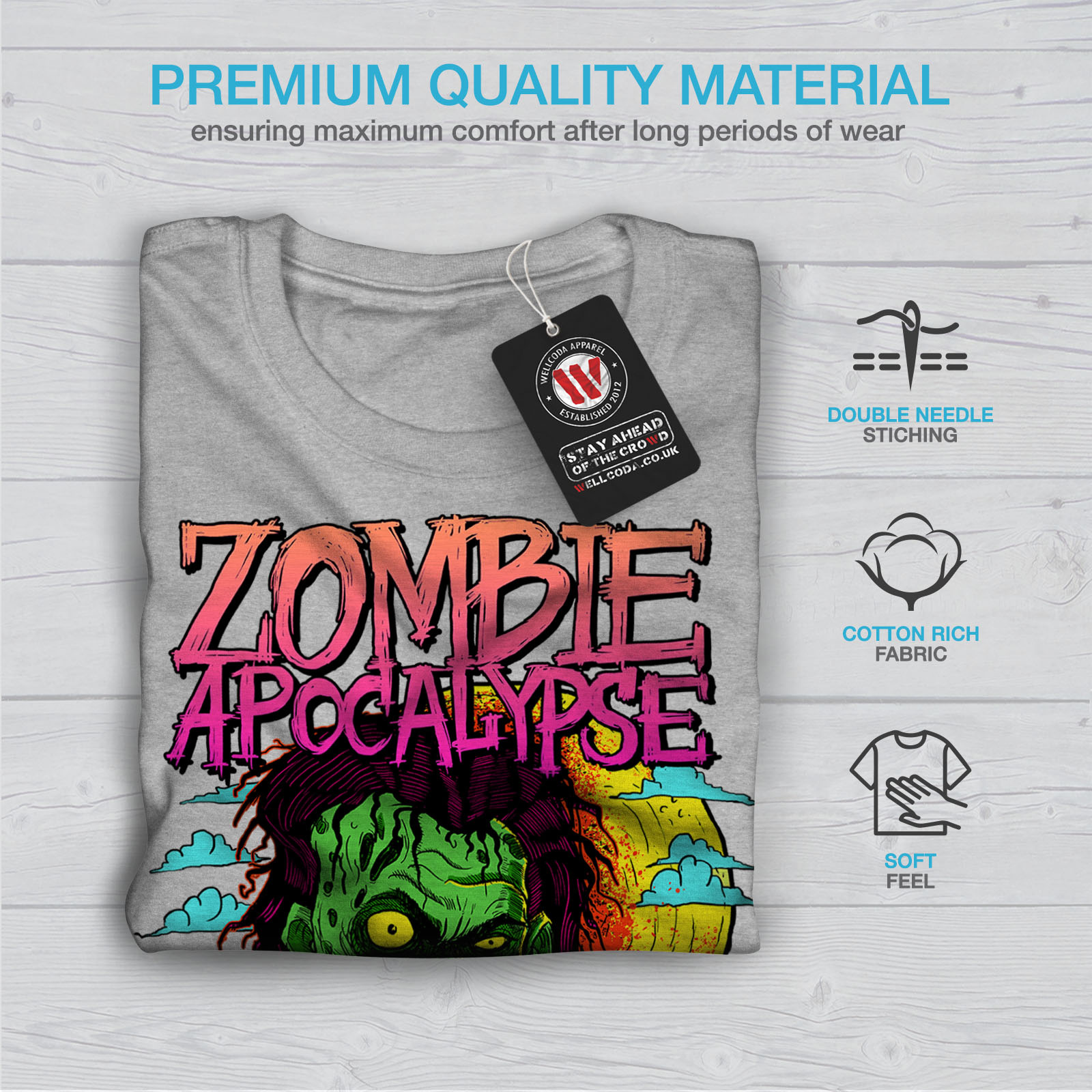 Wellcoda-Zombie-Apocalypse-Horror-Mens-T-shirt-Graphic-Design-Printed-Tee thumbnail 19
