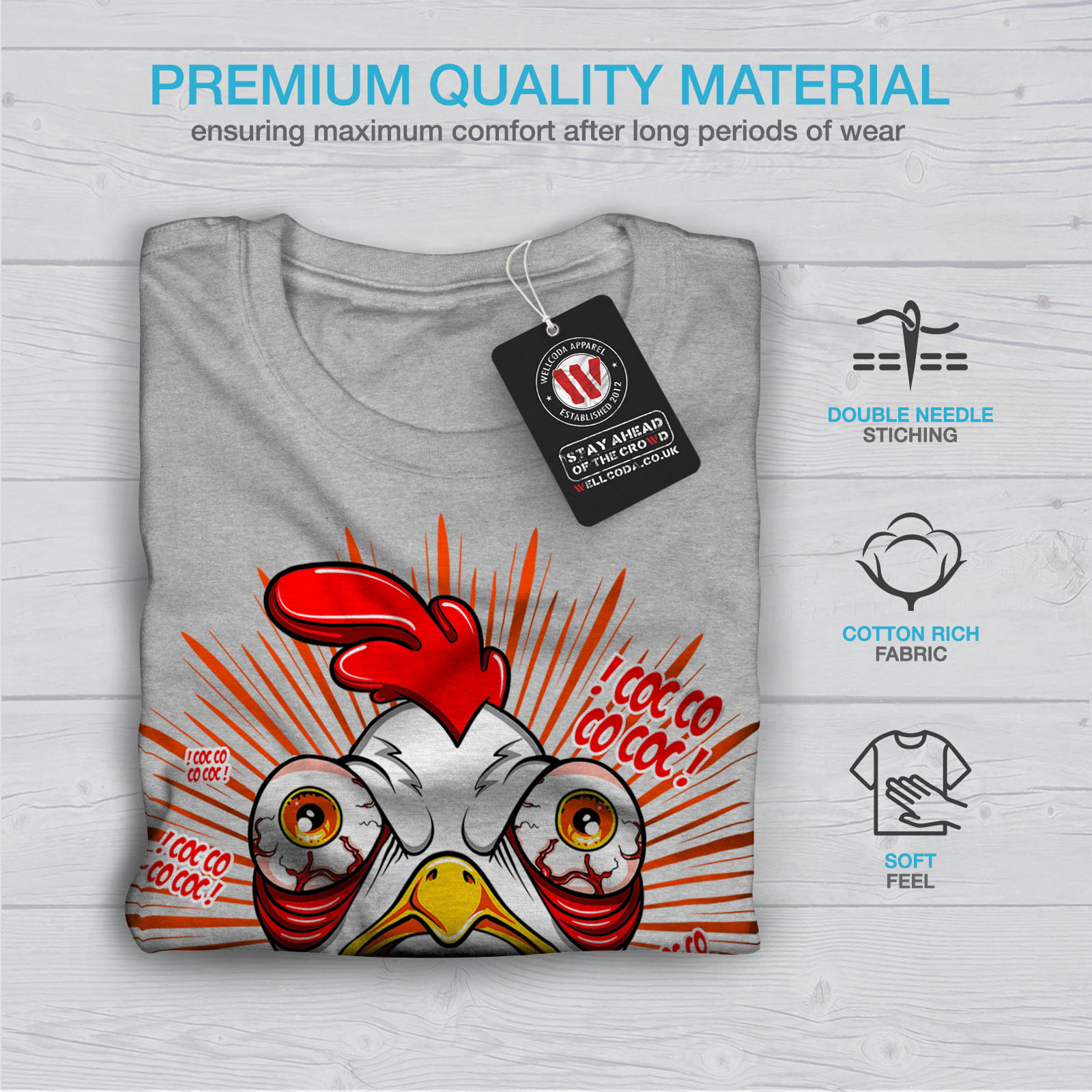 thumbnail 19 - Wellcoda-Crazy-Chicken-Mens-T-shirt-Funny-Face-Graphic-Design-Printed-Tee