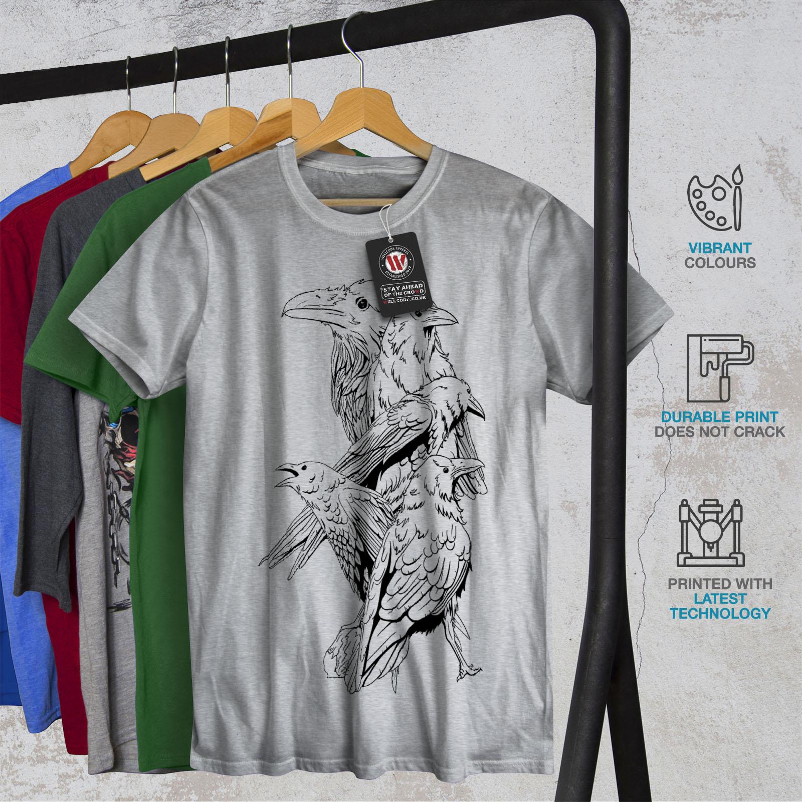 miniature 18 - Wellcoda Four Scary Raven Mens T-shirt, Crow Birds Graphic Design Printed Tee