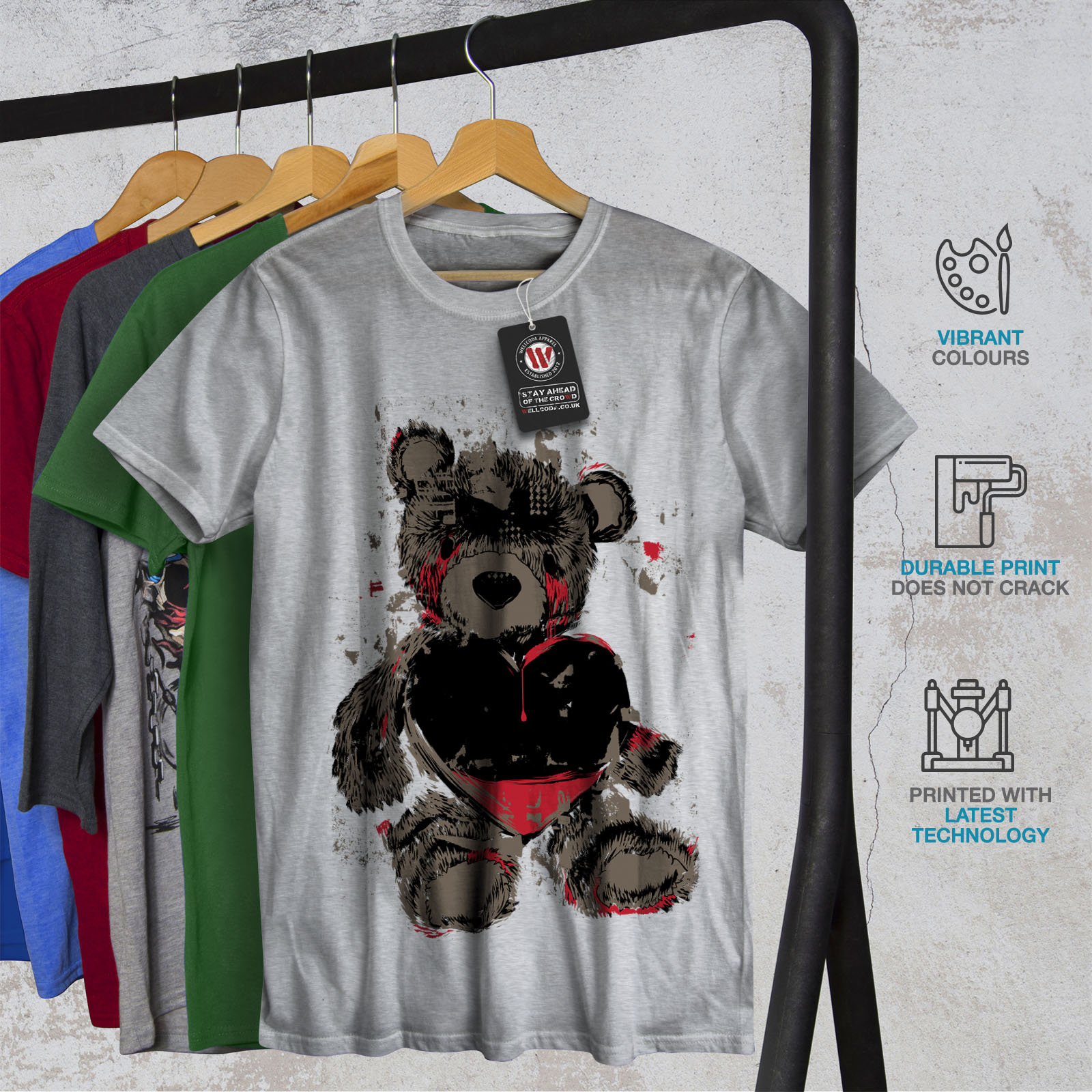miniature 18 - Wellcoda Teddy Bear Love Hurt Mens T-shirt, Blood Graphic Design Printed Tee