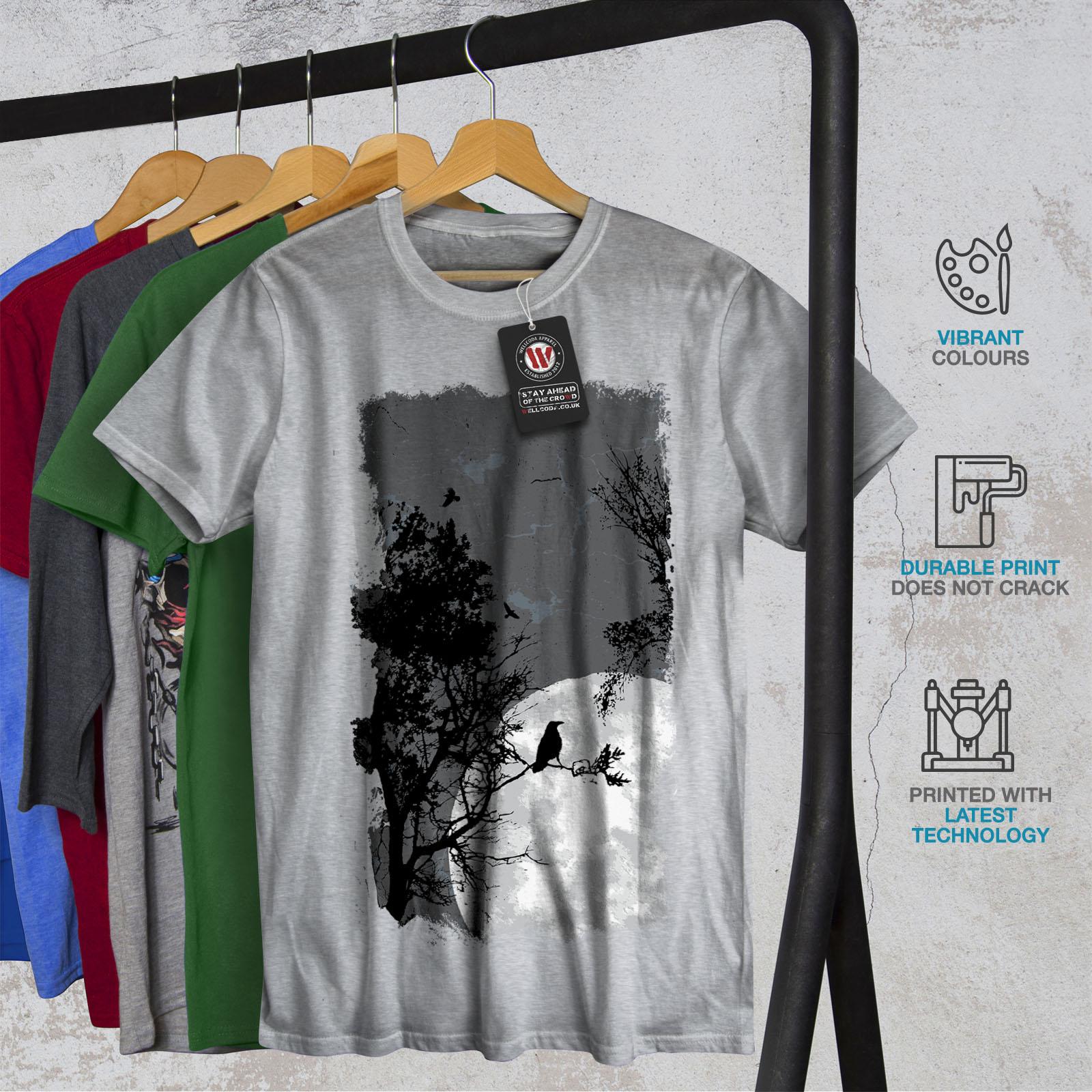 Wellcoda Night Raven Crow Nature Mens T-shirt Birds Graphic Design Printed Tee