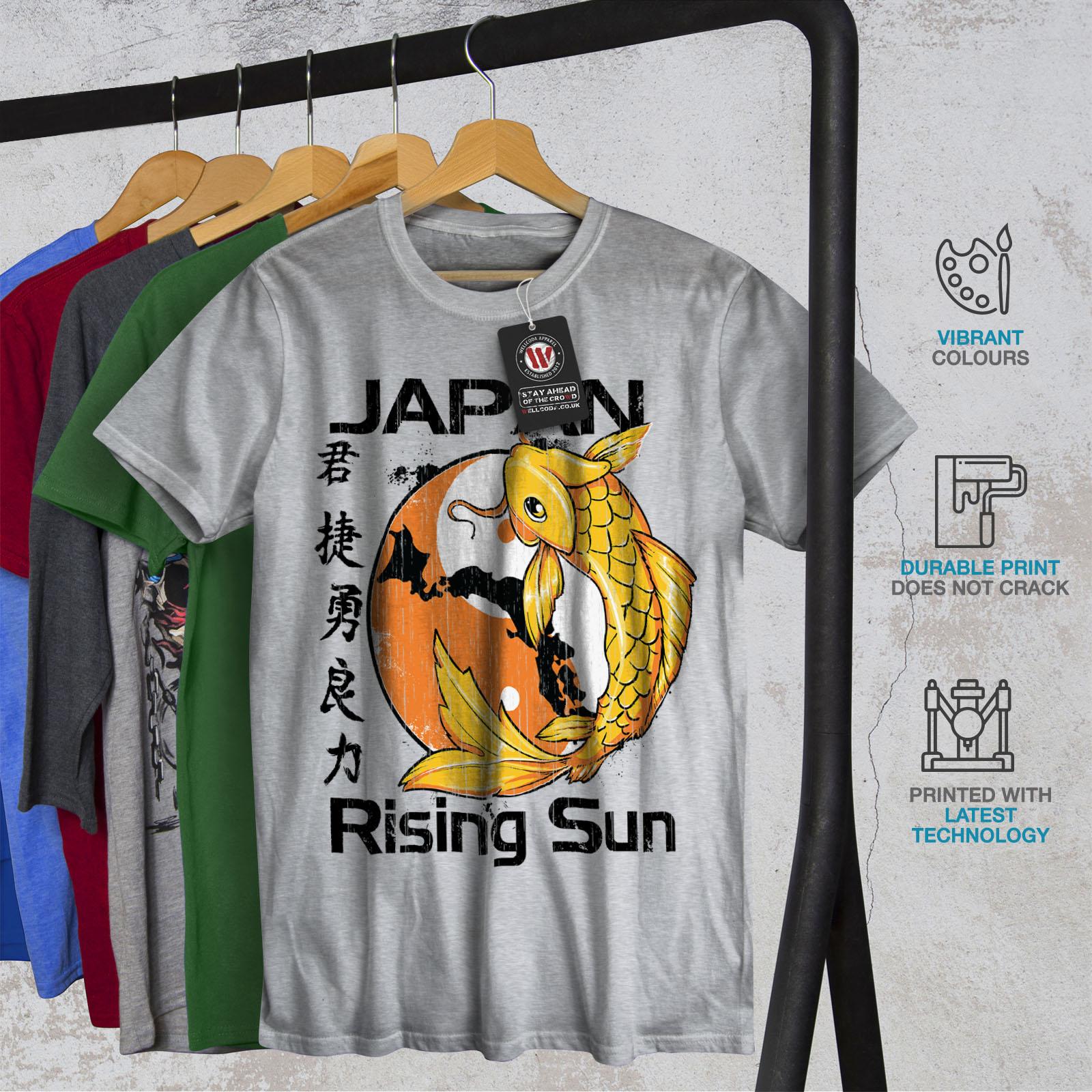 Carp design grafico stampato T-shirt Wellcoda Rising Sun Giappone Koi Da Uomo T-shirt