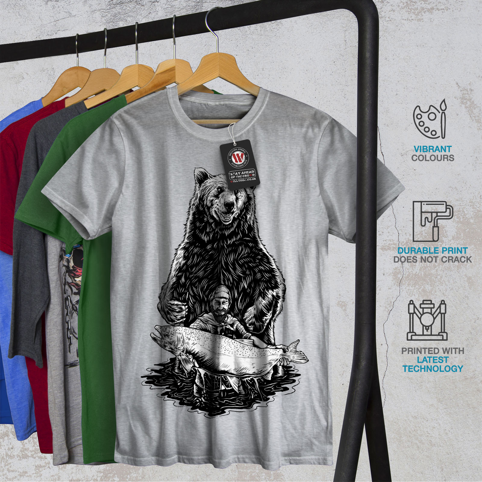 miniature 18 - Wellcoda Fishing Bear Angler Mens T-shirt, Grizzly Graphic Design Printed Tee