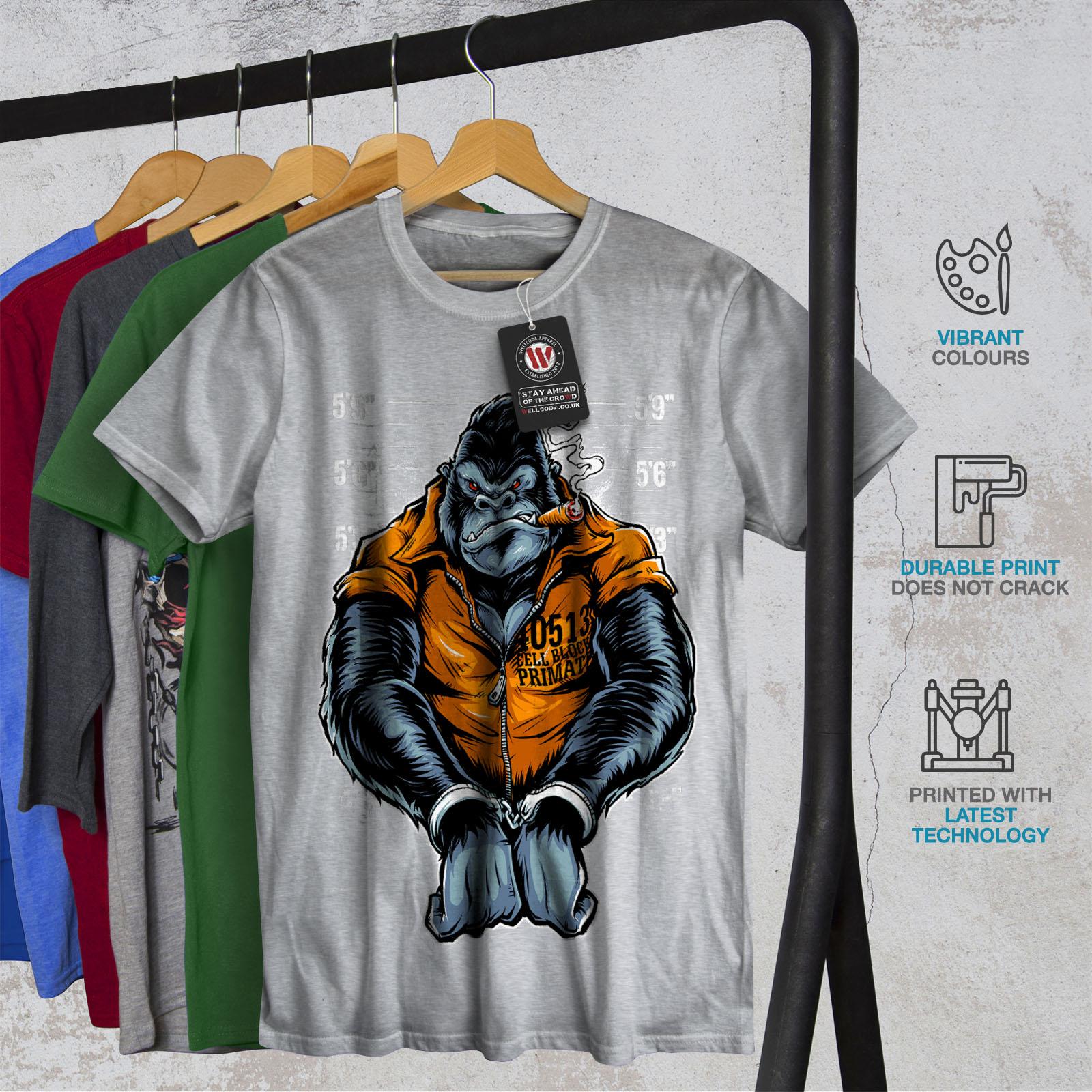 Wellcoda-Monkey-Ape-Prison-Mens-T-shirt-Wild-Graphic-Design-Printed-Tee thumbnail 18