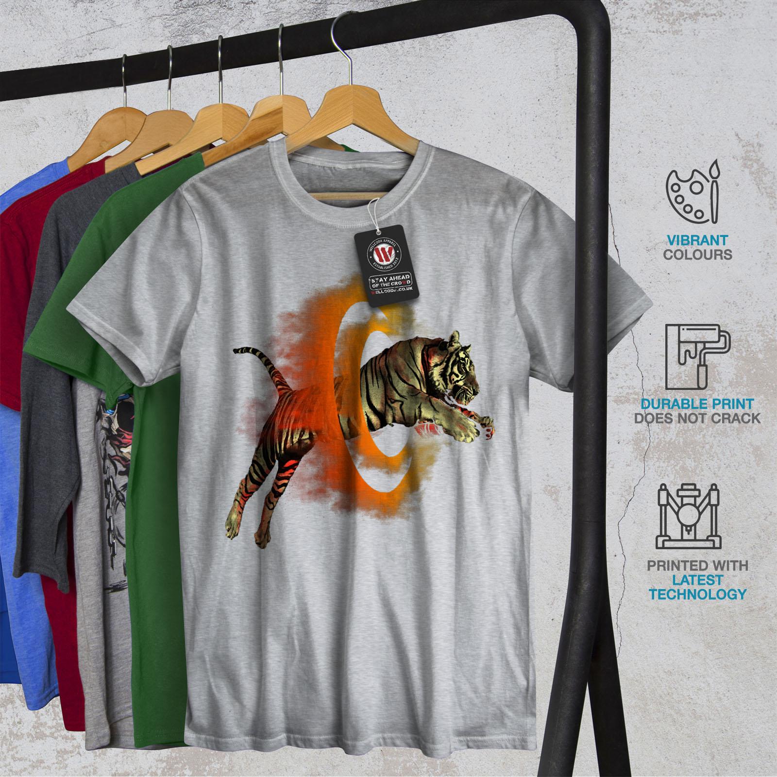 Wellcoda-Tiger-Portal-Cool-Mens-T-shirt-Flame-Graphic-Design-Printed-Tee thumbnail 18