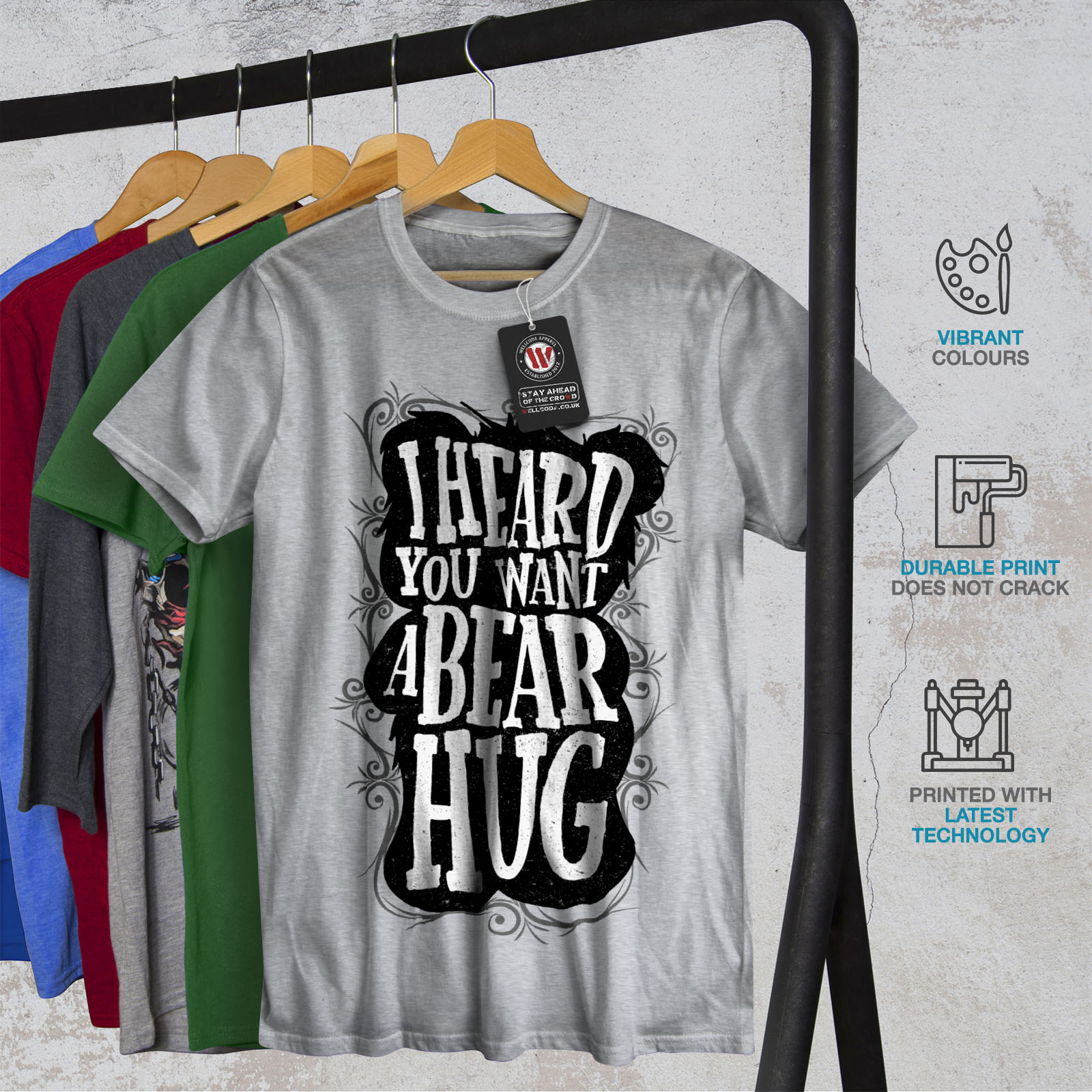 Wellcoda Heard You Bear Hug Funny Mens T-shirt Graphic Design Printed Tee