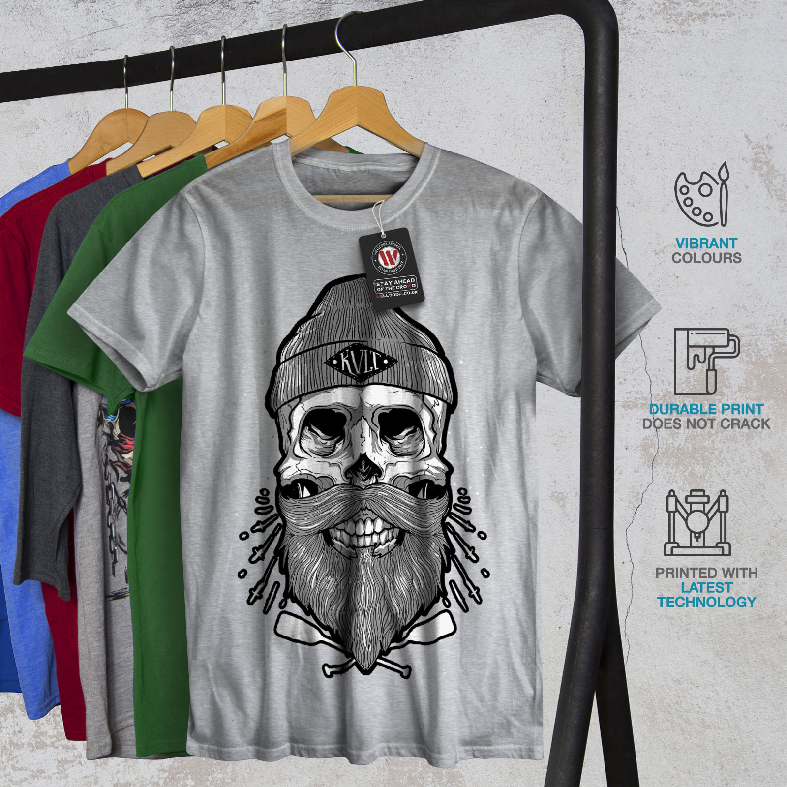 Graphic Design Printed Tee Wellcoda Skull Beard Cool Fashion Mens T-shirt