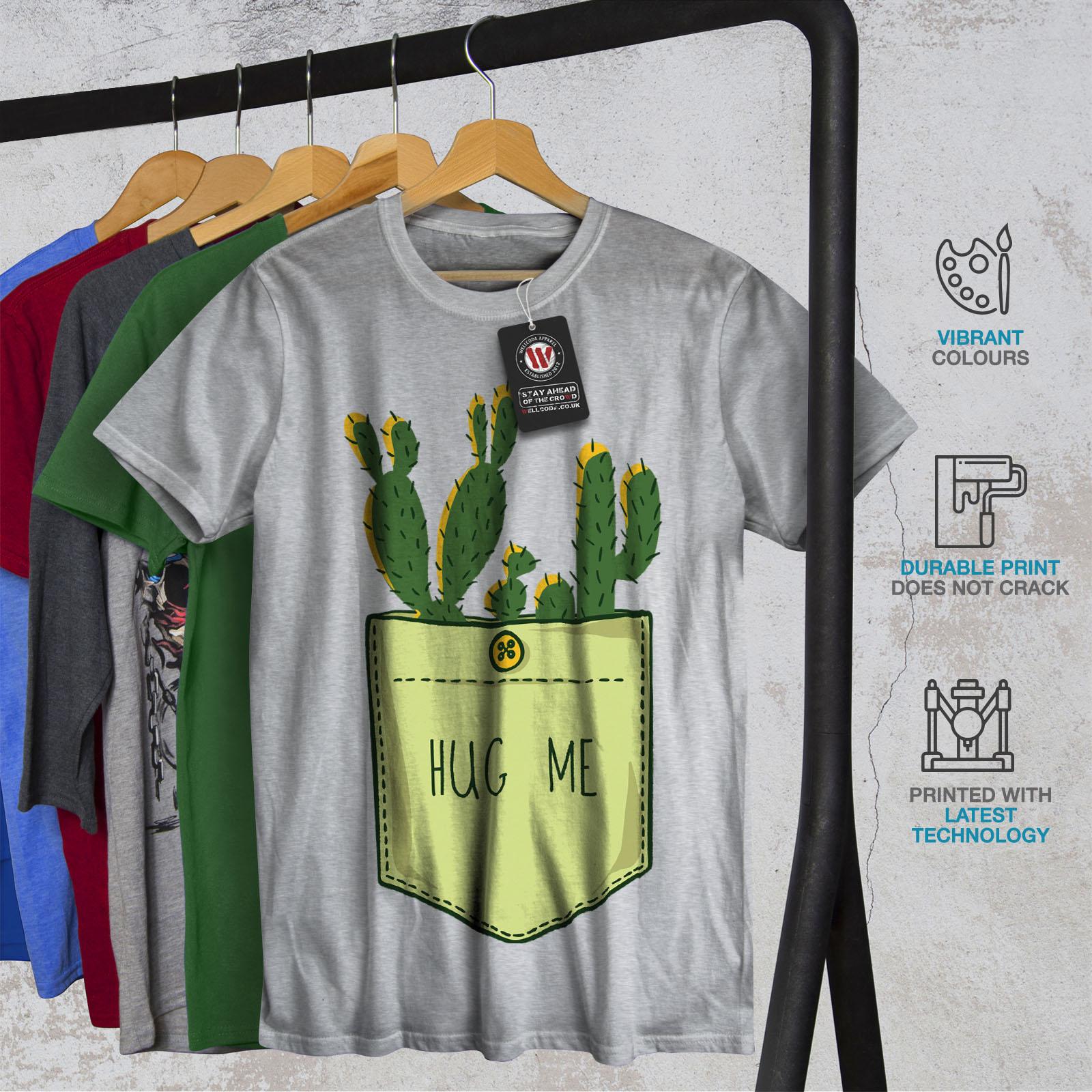 miniature 18 - Wellcoda Hug Me Cactus Funny Mens T-shirt,  Graphic Design Printed Tee