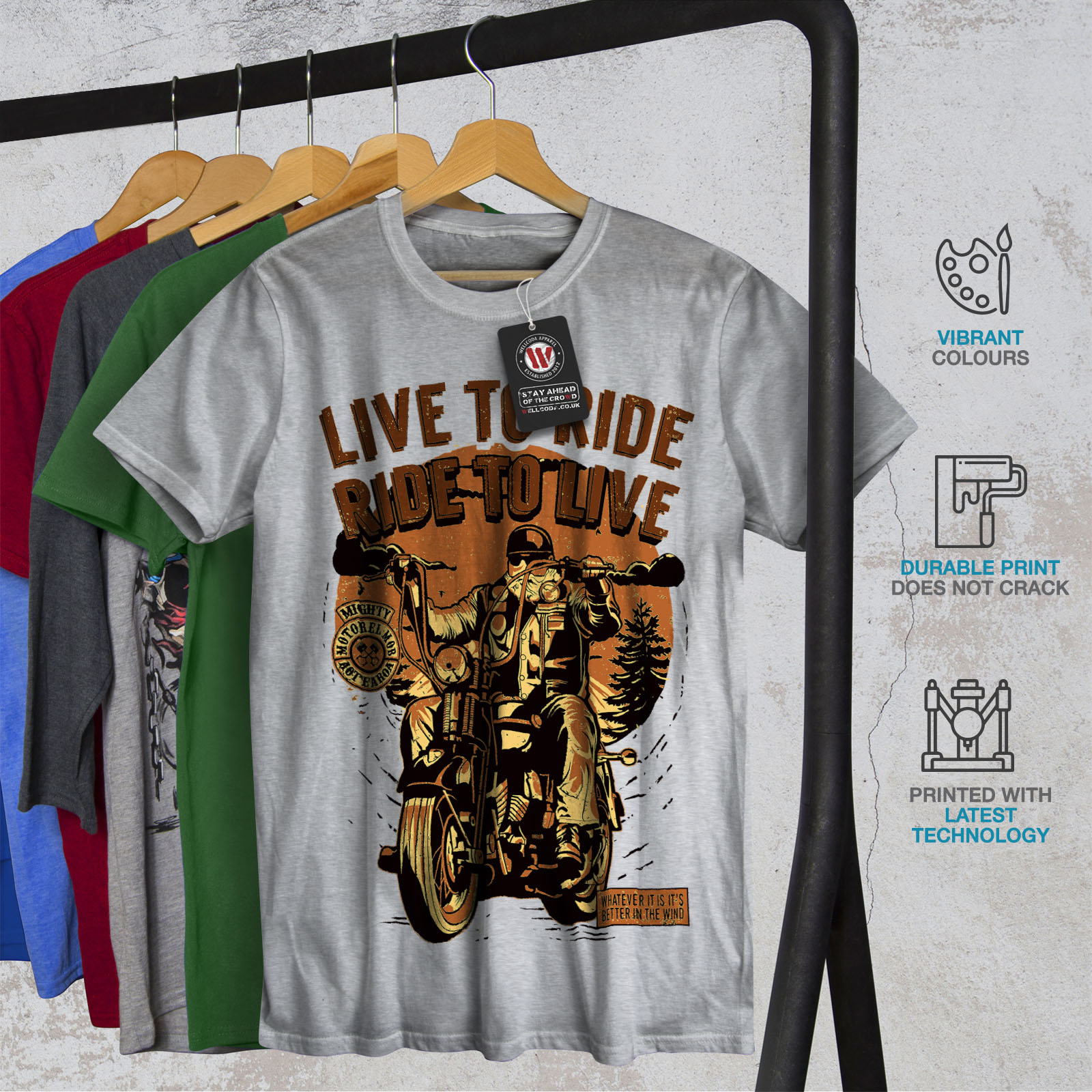 Wellcoda Live To Ride Mens T-shirt Biker Slogan Graphic Design Printed Tee