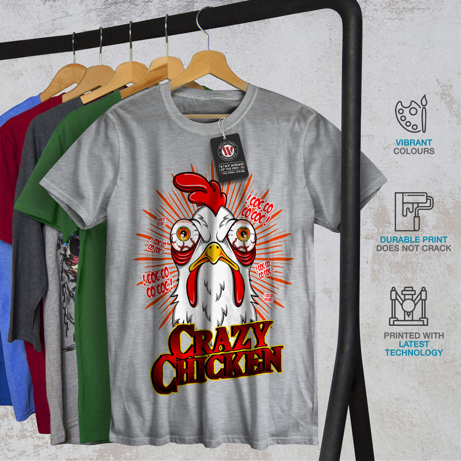 thumbnail 18 - Wellcoda-Crazy-Chicken-Mens-T-shirt-Funny-Face-Graphic-Design-Printed-Tee