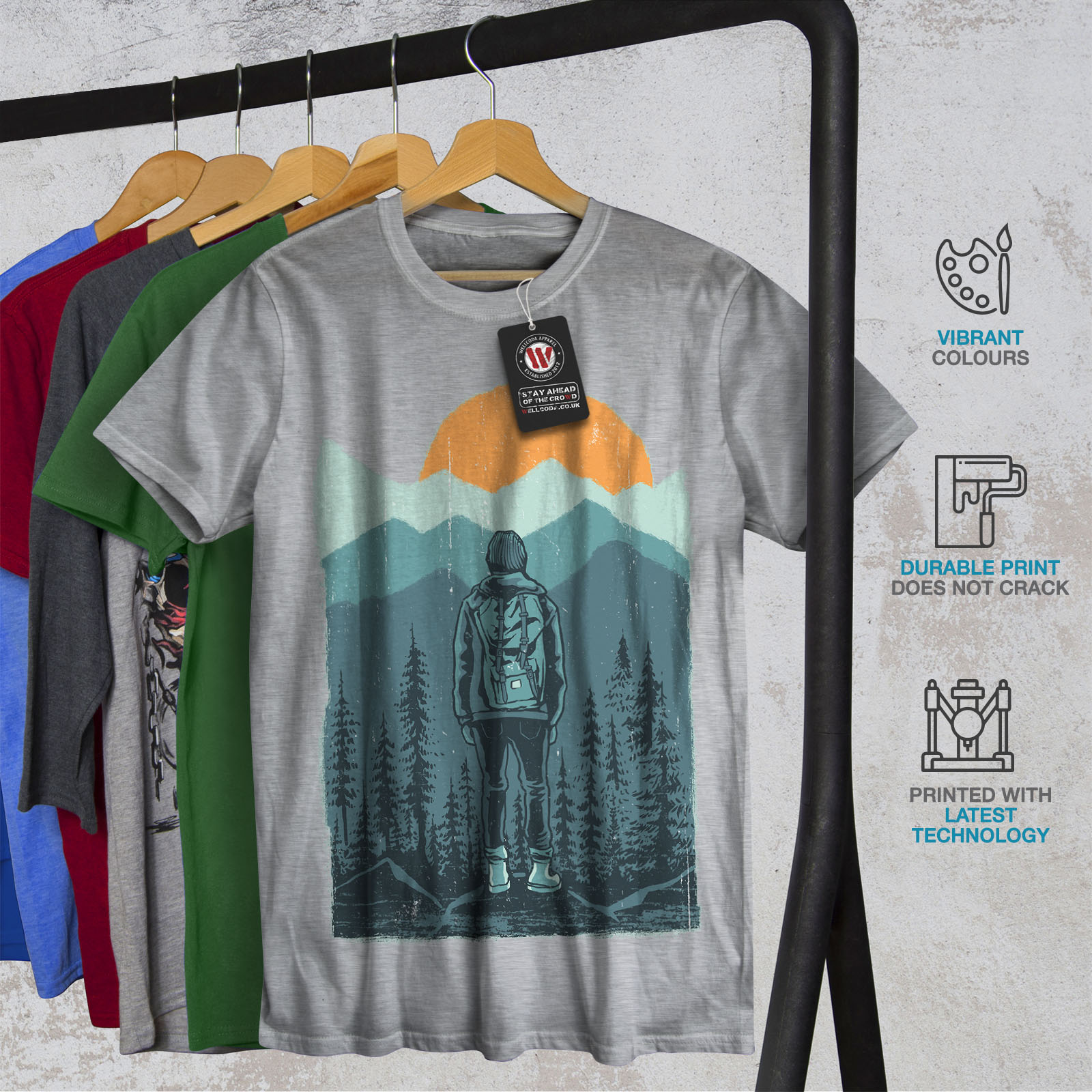 Wellcoda-SUNSET-Wilderness-CAMP-Da-Uomo-T-shirt-Wild-design-grafico-stampato-T-shirt miniatura 18