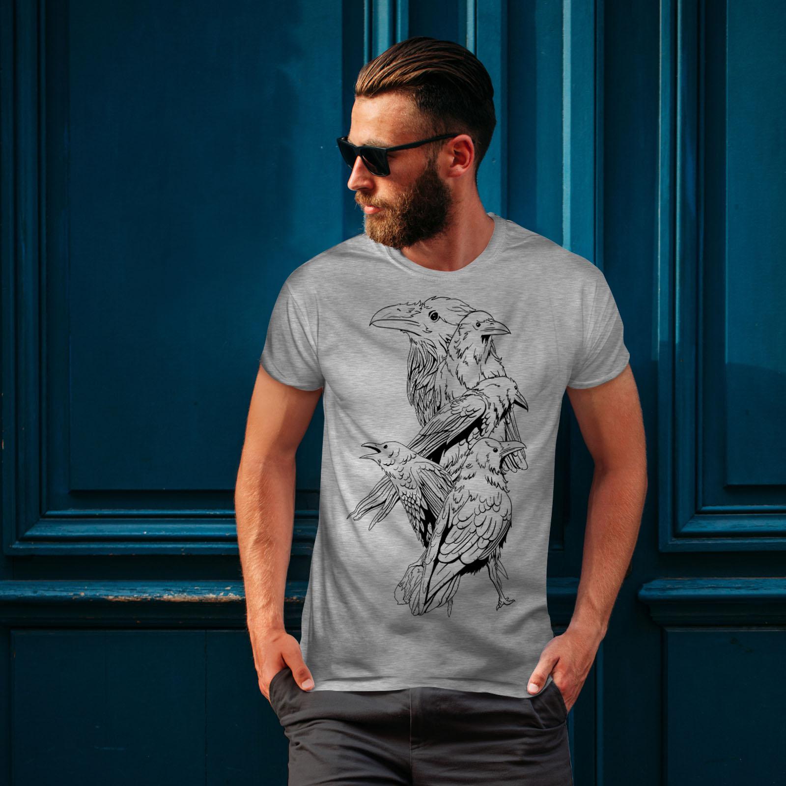 miniature 16 - Wellcoda Four Scary Raven Mens T-shirt, Crow Birds Graphic Design Printed Tee