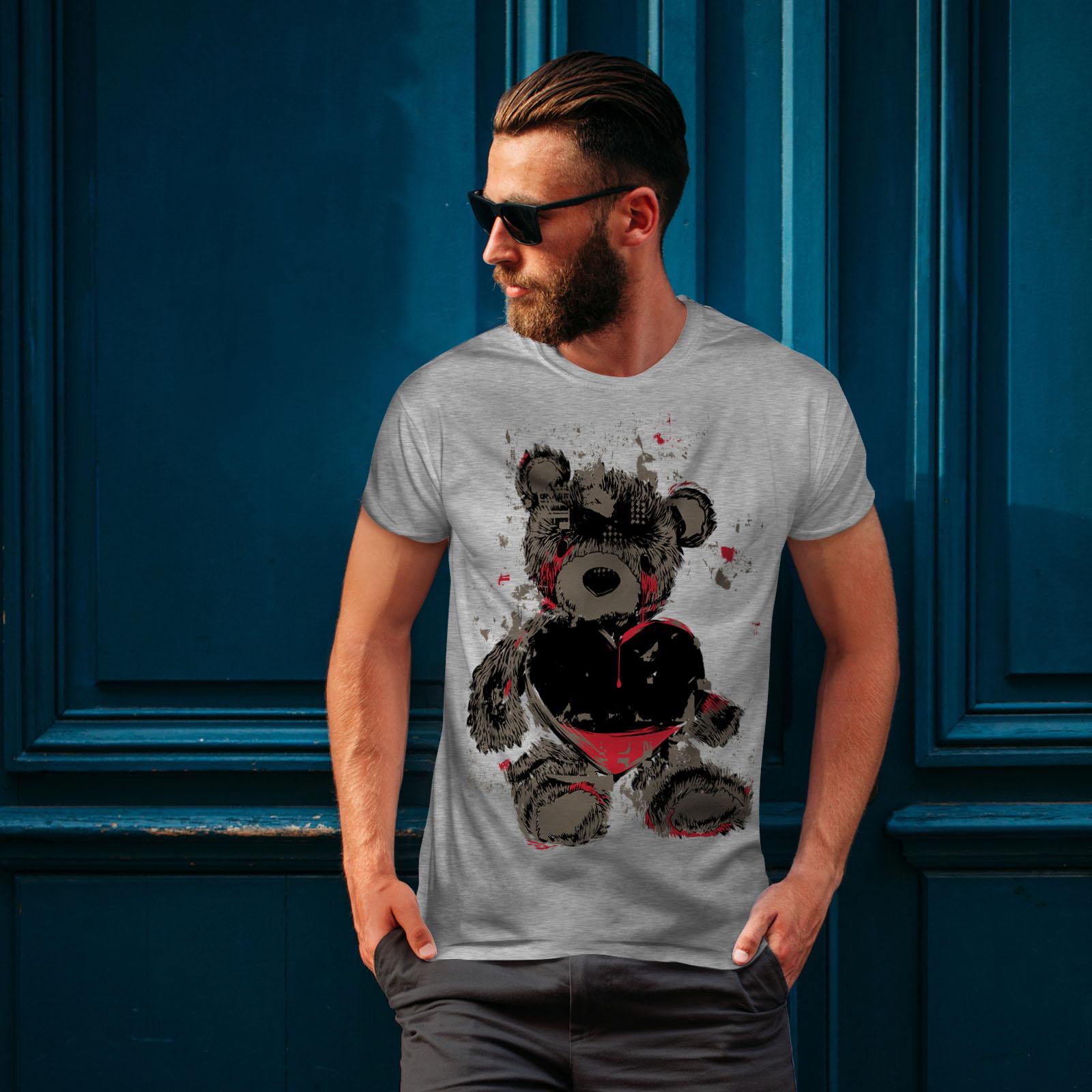 miniature 16 - Wellcoda Teddy Bear Love Hurt Mens T-shirt, Blood Graphic Design Printed Tee