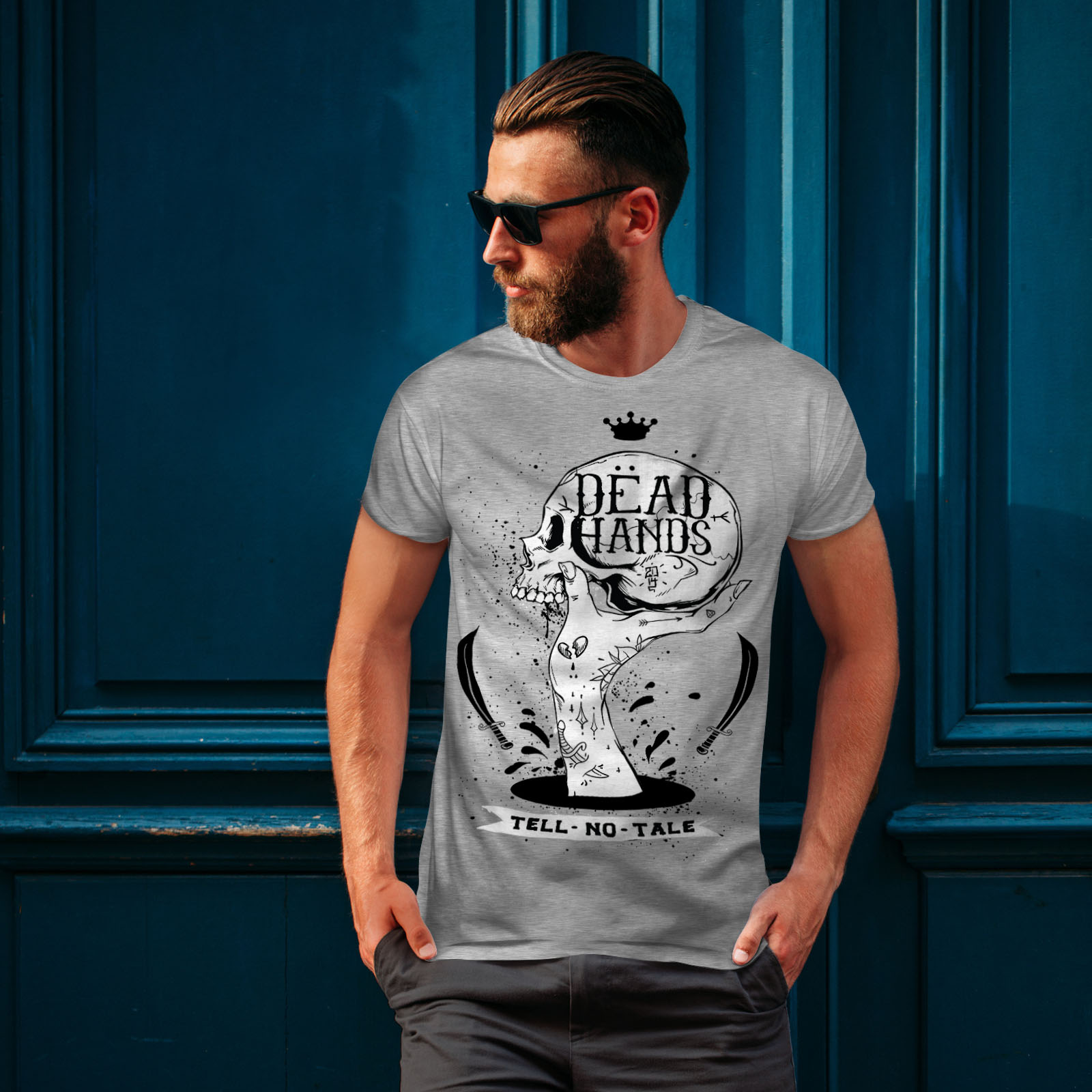 Skull Graphic Design Printed Tee Wellcoda Dead Hand Goth Mens T-shirt