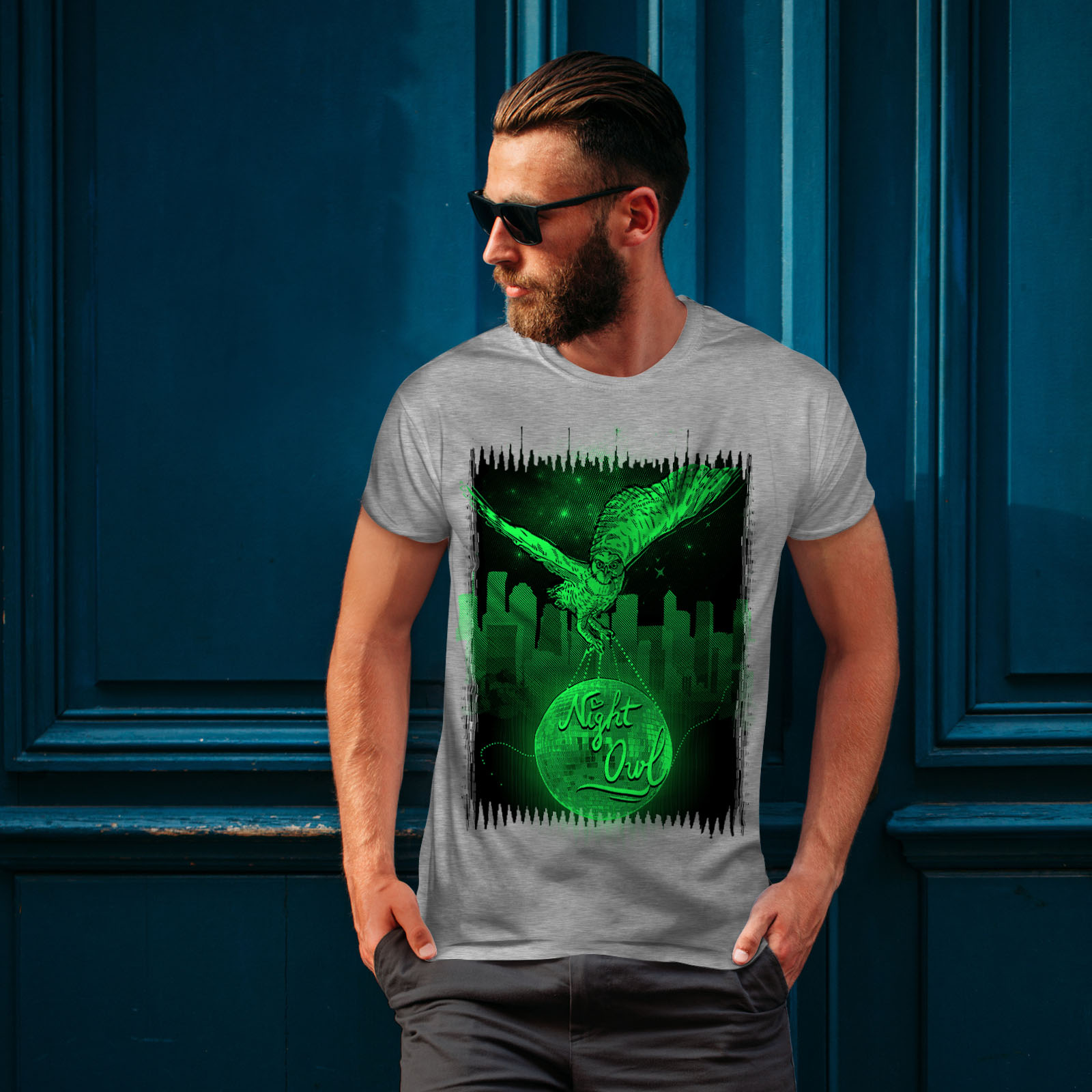 CITY design grafico stampato T-shirt Wellcoda OWL NIGHT CITY Animale Da Uomo T-shirt
