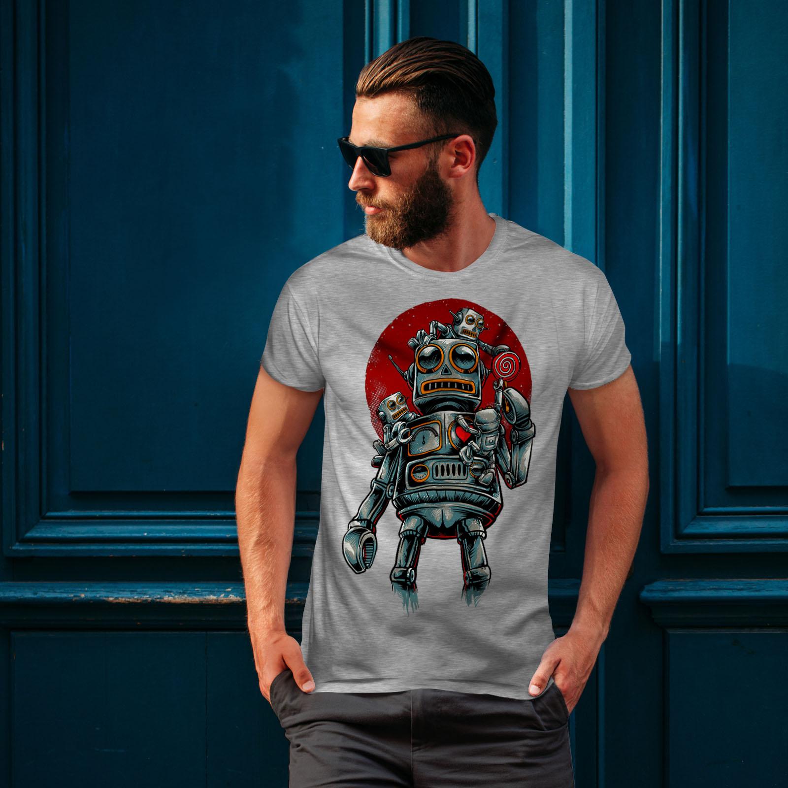 miniature 16 - Wellcoda Crazy Robot Mens T-shirt, Mechanical Graphic Design Printed Tee
