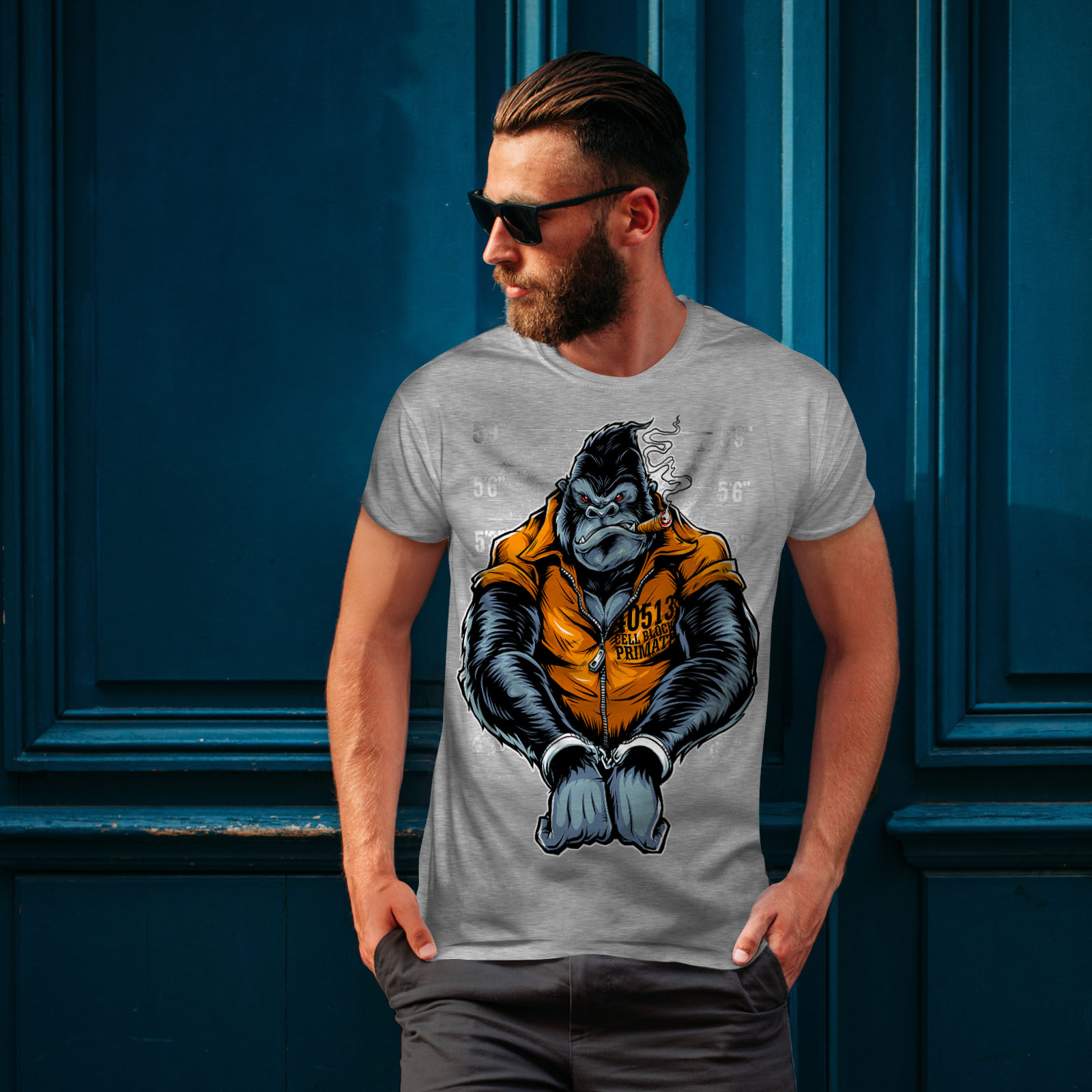 Wellcoda-Monkey-Ape-Prison-Mens-T-shirt-Wild-Graphic-Design-Printed-Tee thumbnail 16