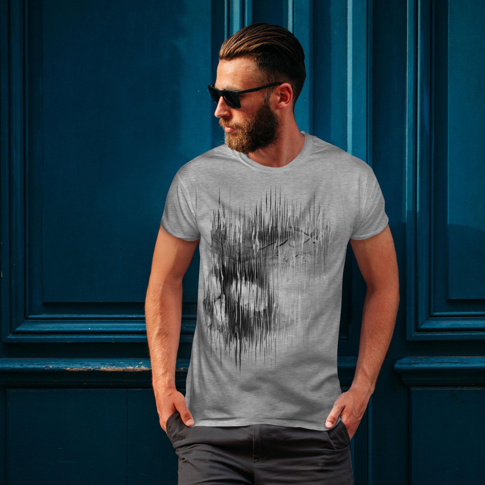 Wellcoda Shadow Ghost Goth Skull Womens T-shirt Bone Casual Design Printed Tee