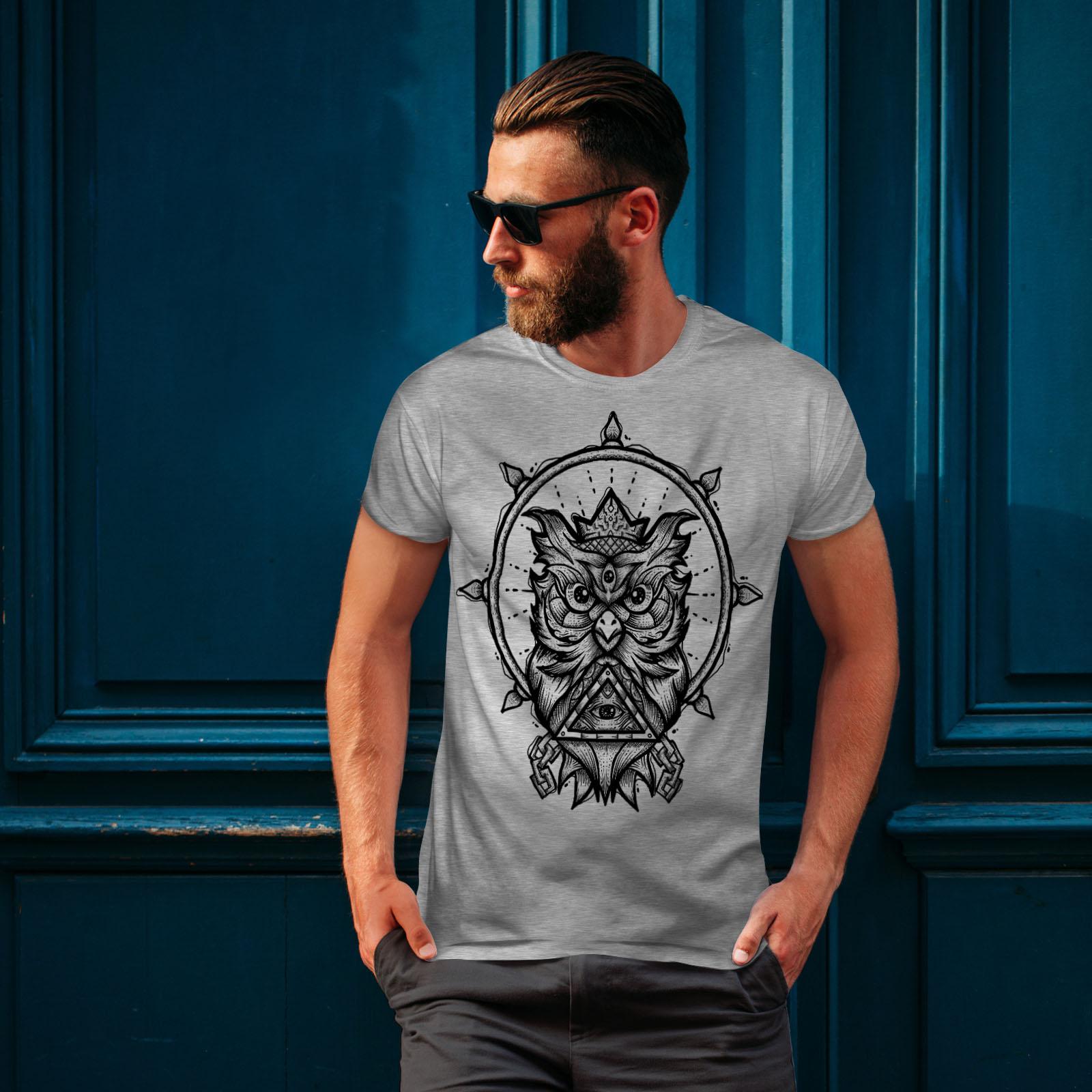 design grafico stampato T-shirt Wellcoda Gufo moda spirituale Da Uomo T-shirt