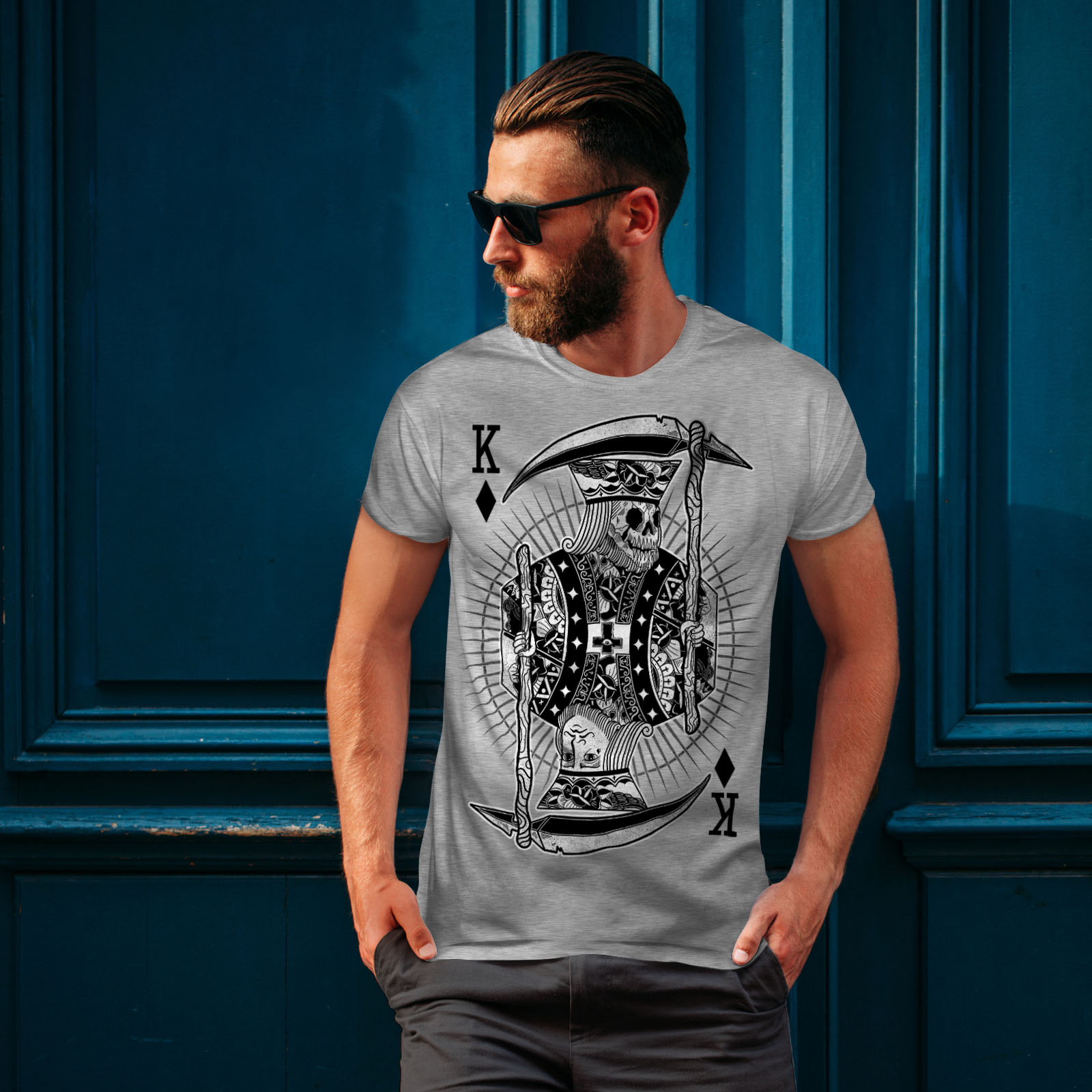 Wellcoda-Poker-Horror-King-Skull-Mens-T-shirt-Graphic-Design-Printed-Tee thumbnail 16