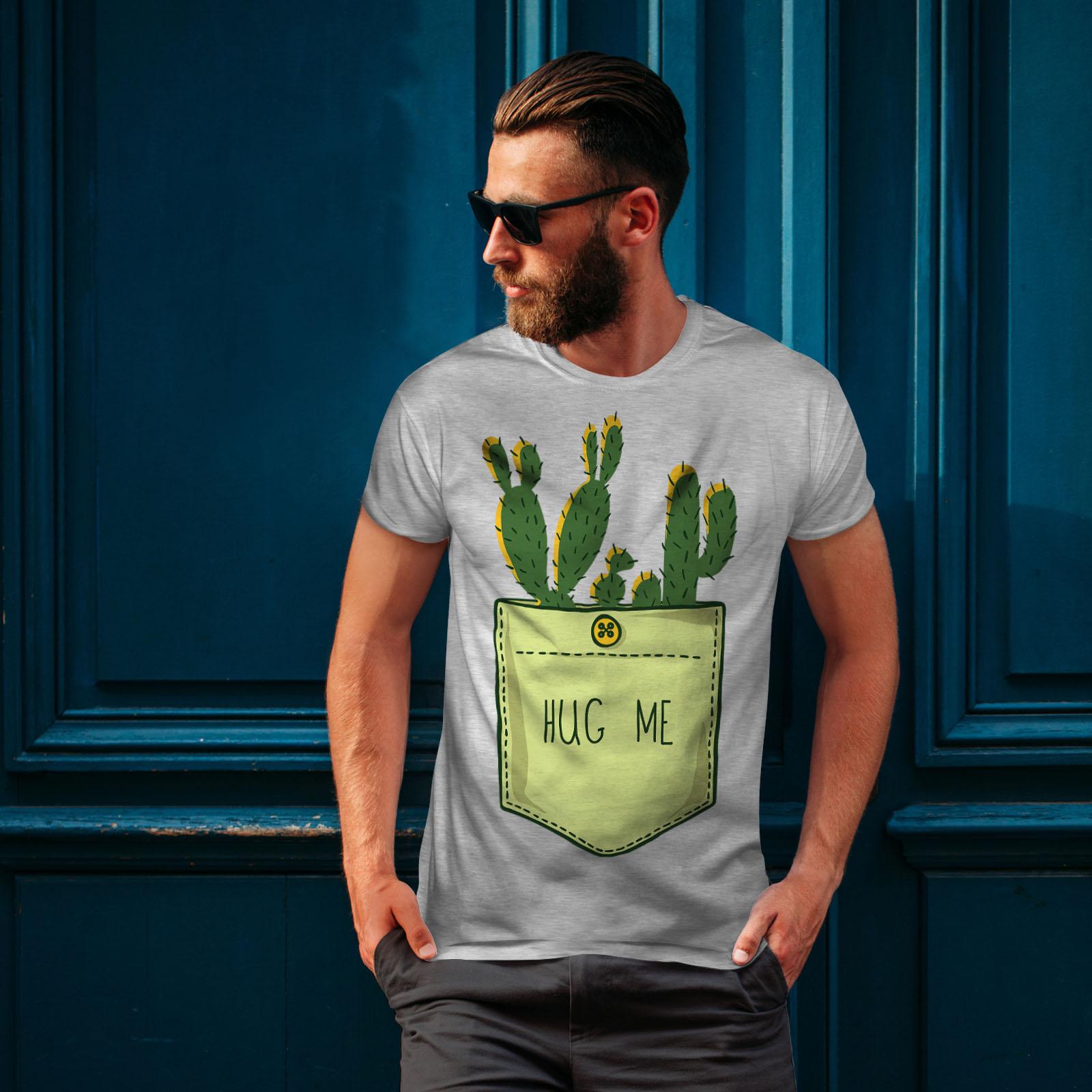 miniature 16 - Wellcoda Hug Me Cactus Funny Mens T-shirt,  Graphic Design Printed Tee