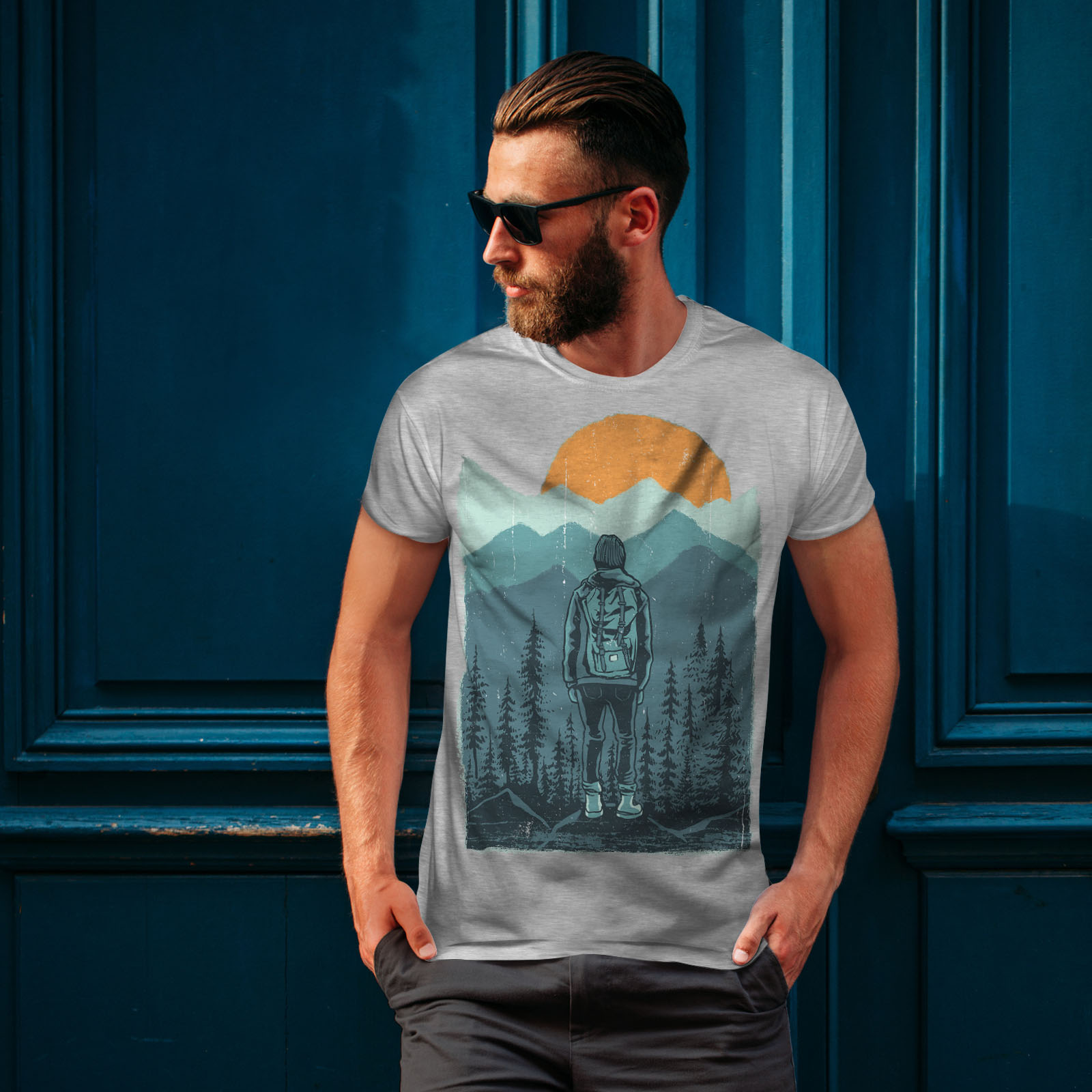 Wellcoda-SUNSET-Wilderness-CAMP-Da-Uomo-T-shirt-Wild-design-grafico-stampato-T-shirt miniatura 16