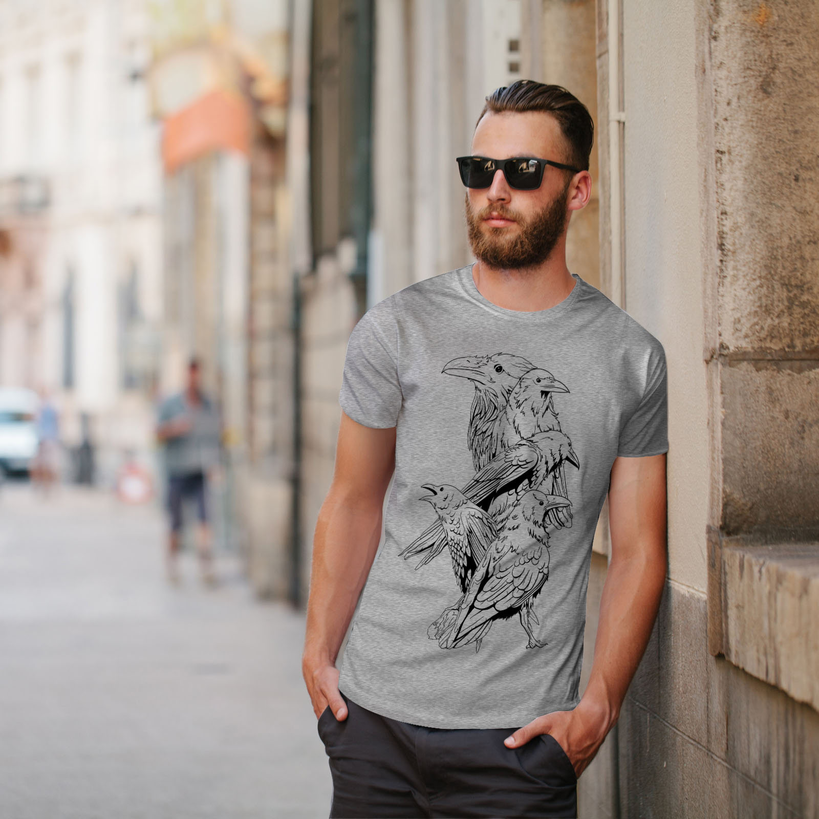 miniature 17 - Wellcoda Four Scary Raven Mens T-shirt, Crow Birds Graphic Design Printed Tee