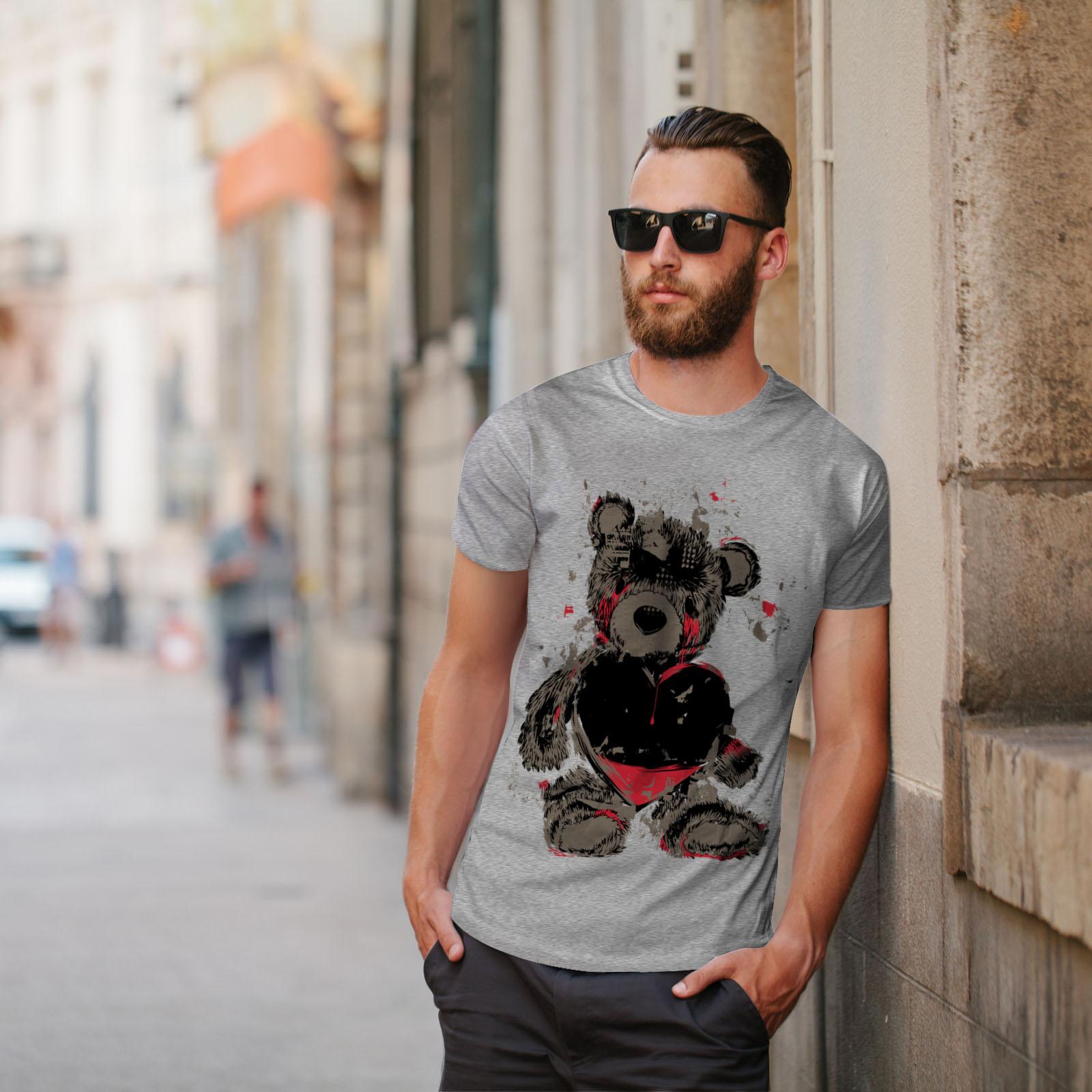 miniature 17 - Wellcoda Teddy Bear Love Hurt Mens T-shirt, Blood Graphic Design Printed Tee
